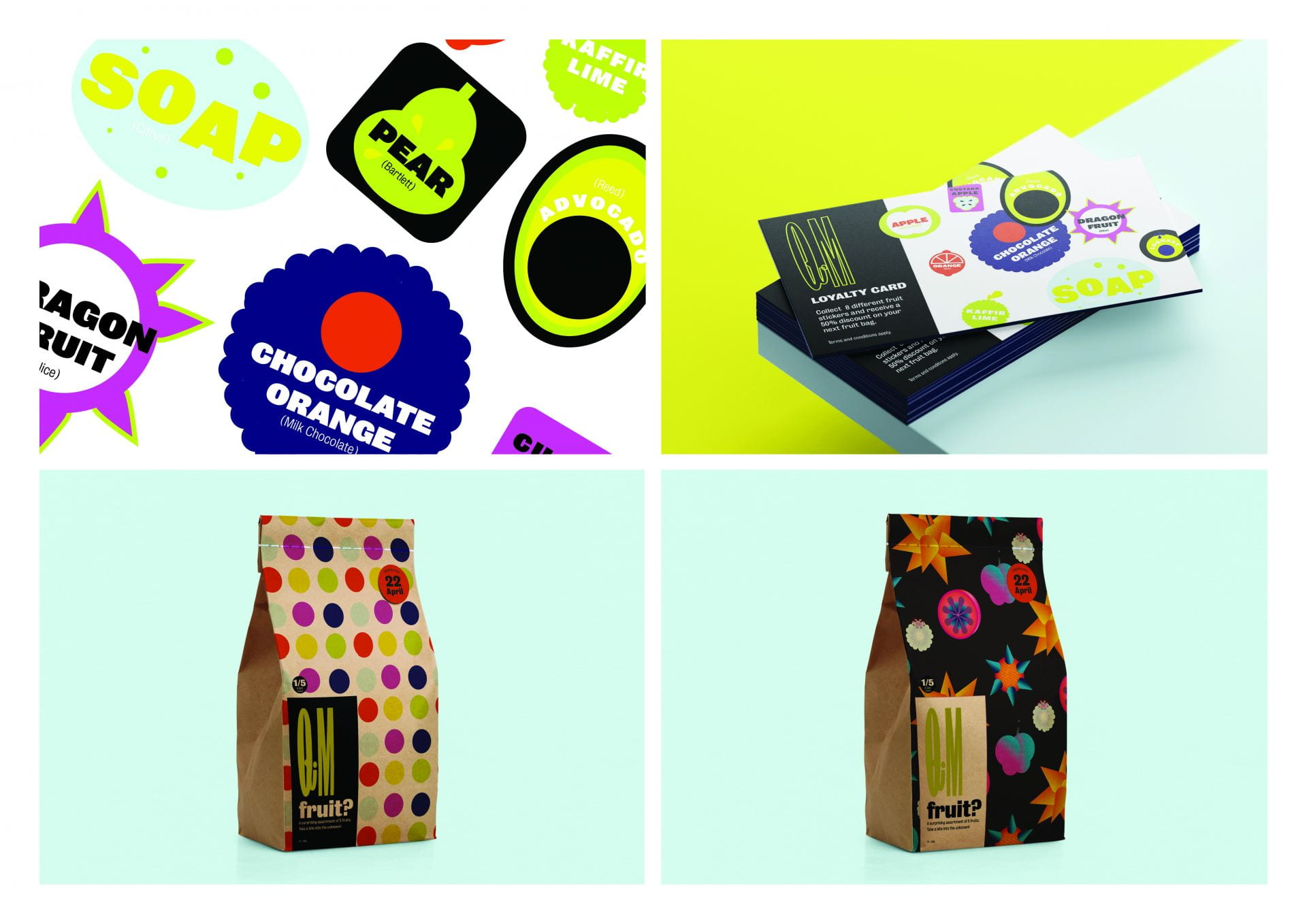 Loyalty cards and bags of fruit, brightly coloured and patterned.