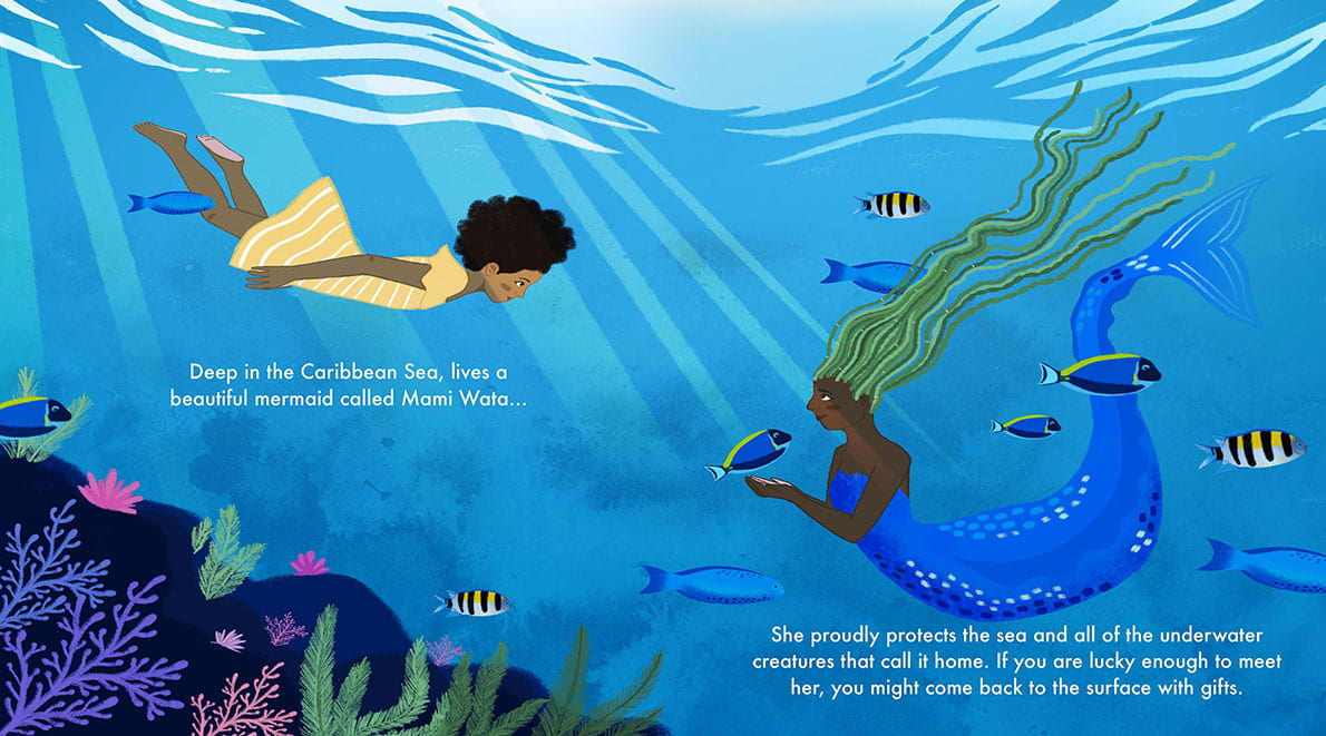 Digital image of a double page spread showing an underwater scene with a mermaid and a human meeting.