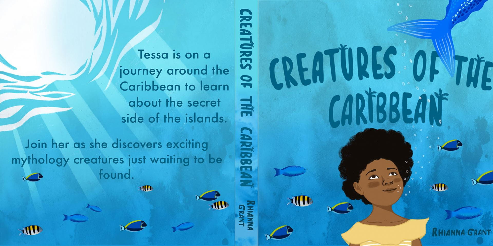 Digital image of children's front cover, spine, and back cover. The main character is on the front cover.