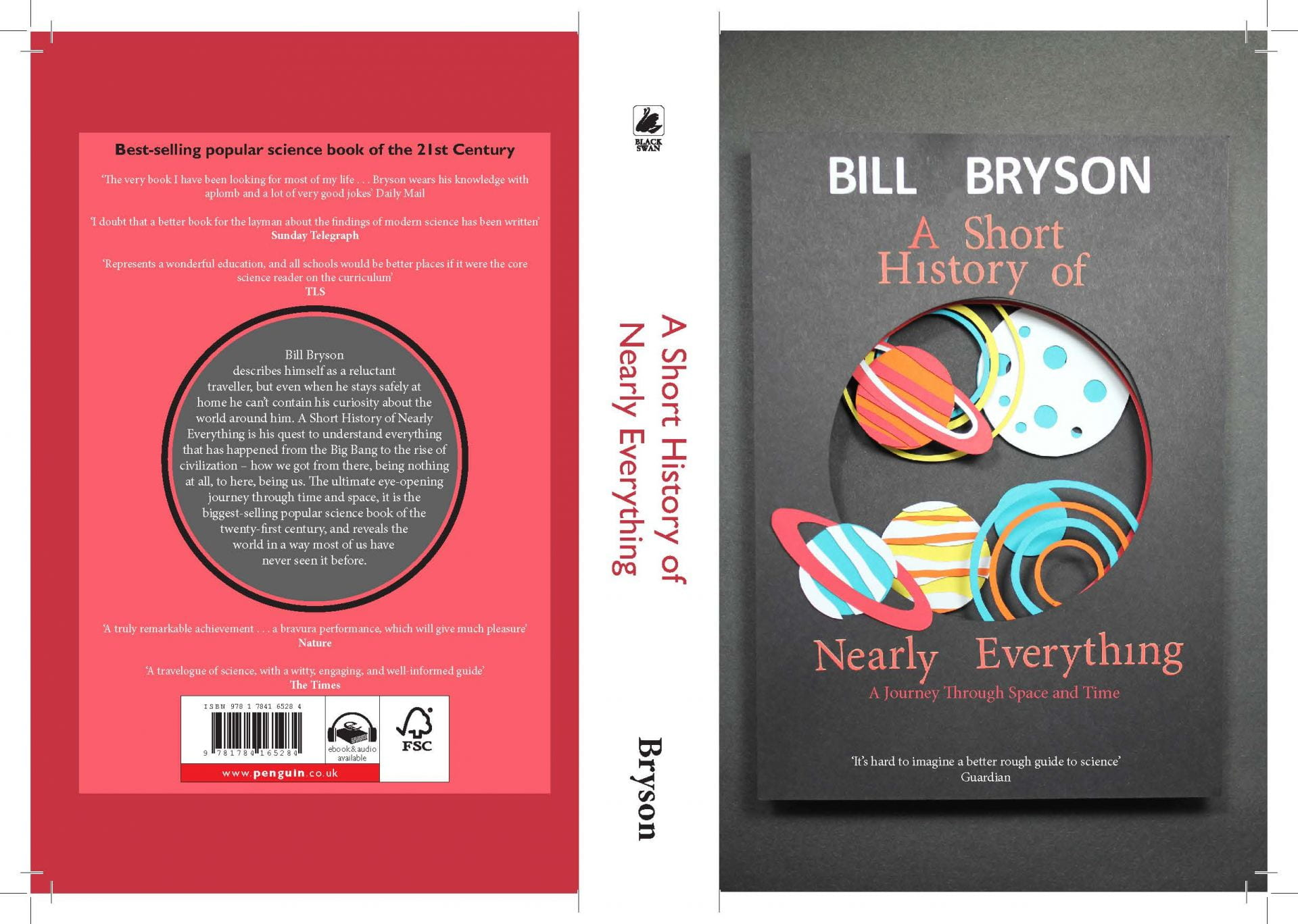 3D book cover with overlapping planets on Bill Bryson's 'A short history of nearly everything' and back blurb.