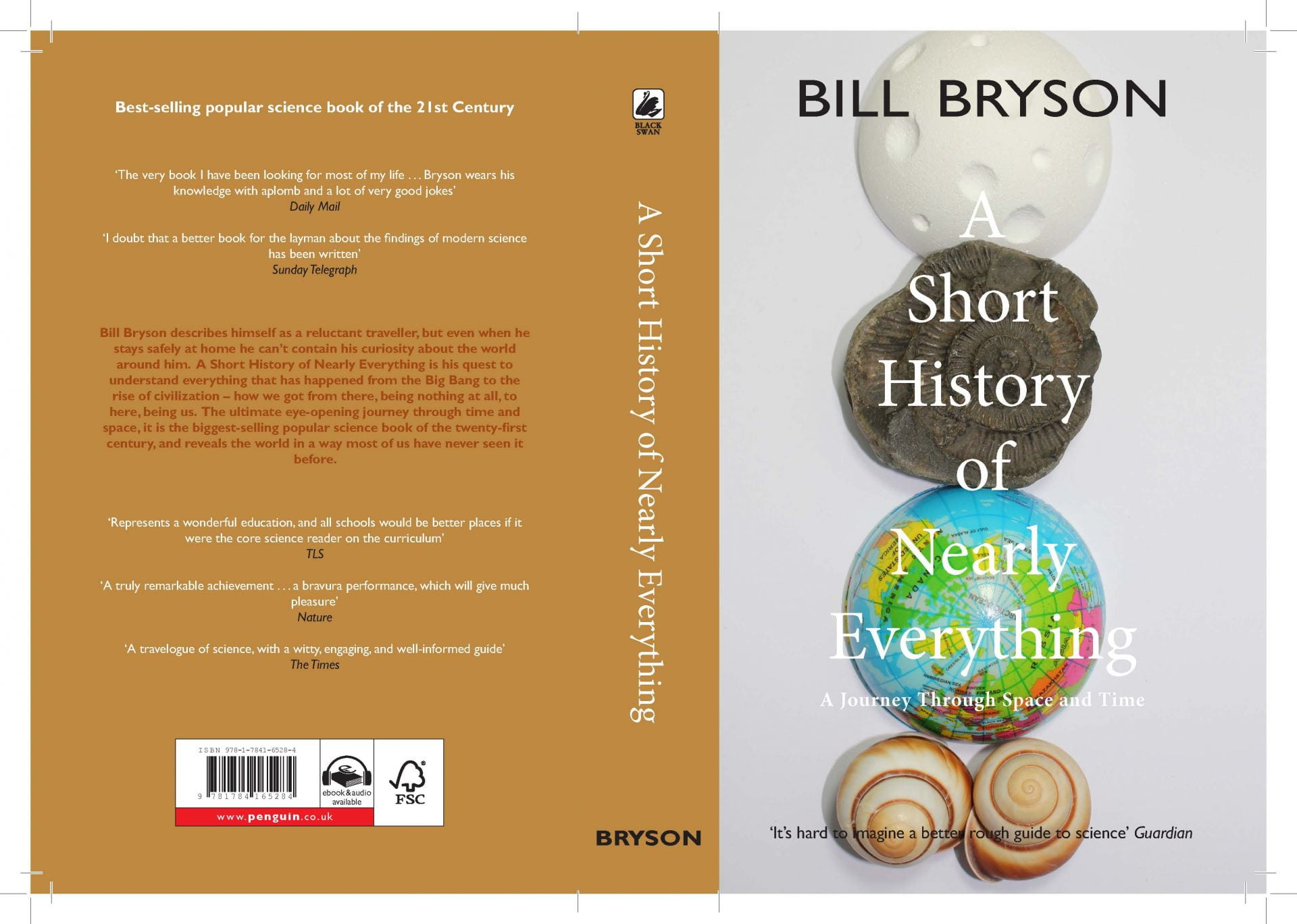 Photographic cover with stacked shells on a globe on Bill Bryson's 'A short history of nearly everything' and back blurb.