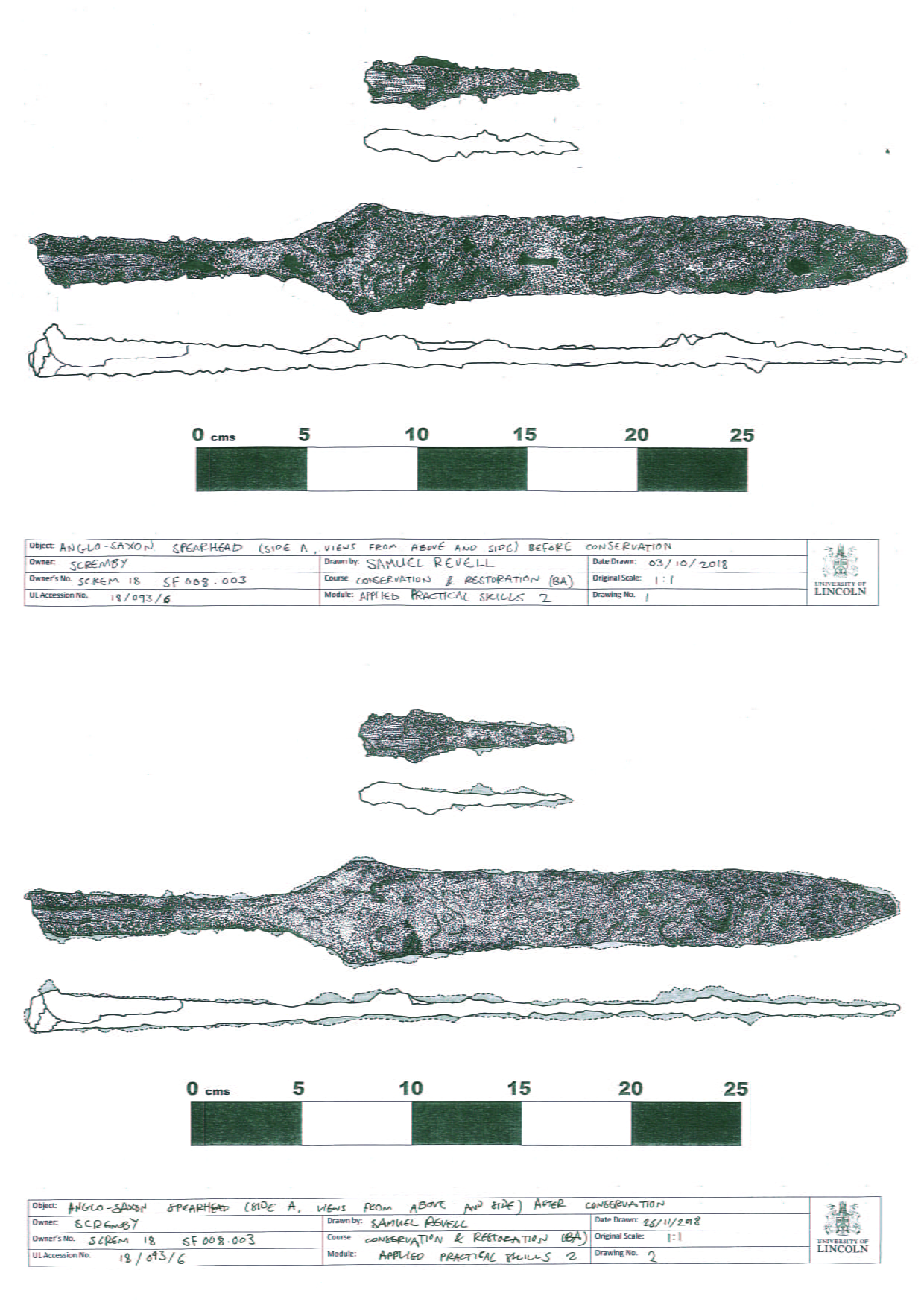 Technical drawings of a spearhead, showing surface texture and outline of the spearhead before and after conservation treatment.