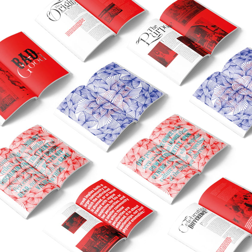 Various red and blue floral book designs.