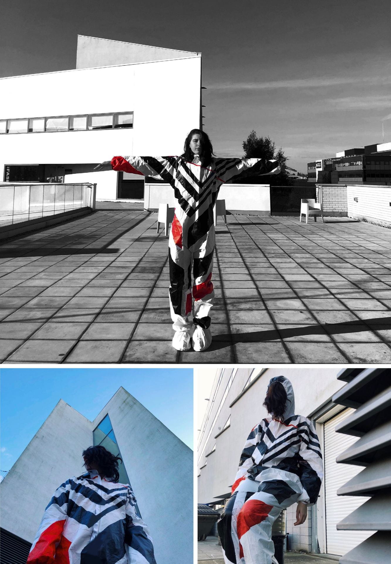 A selection of photographs of someone stood in various positions wearing a 'Dazzle Suit'.