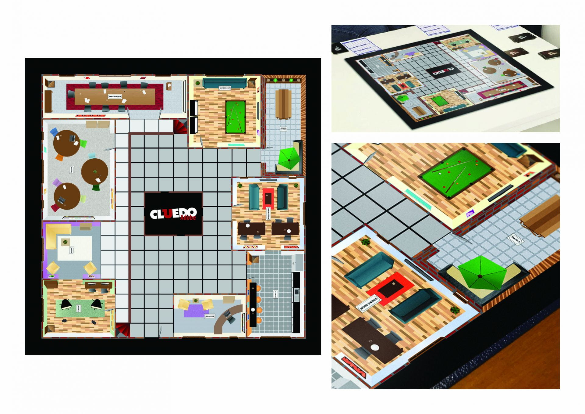 Adobe version of the board game Cluedo set in an office building environment.