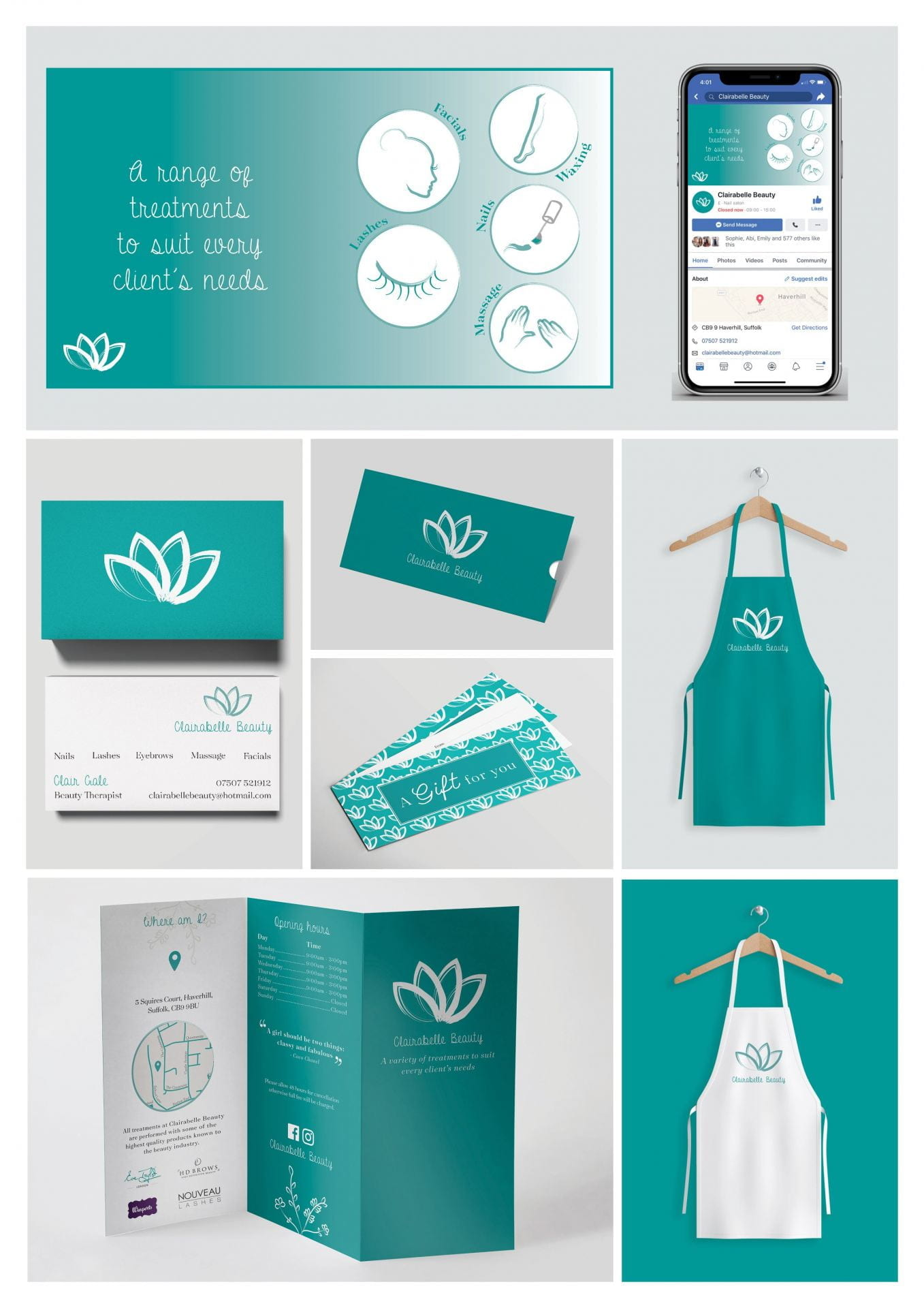 Products such as an apron, an app, and various leaflets, all using a teal and white theme.