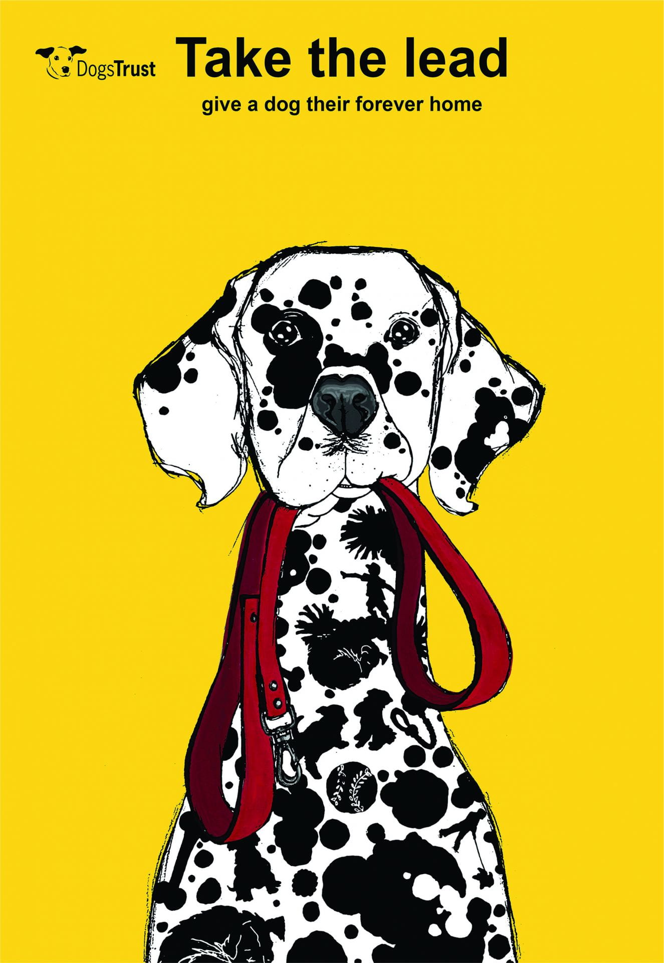 Illustration, a Dalmatian holding a red lead, text above reads: