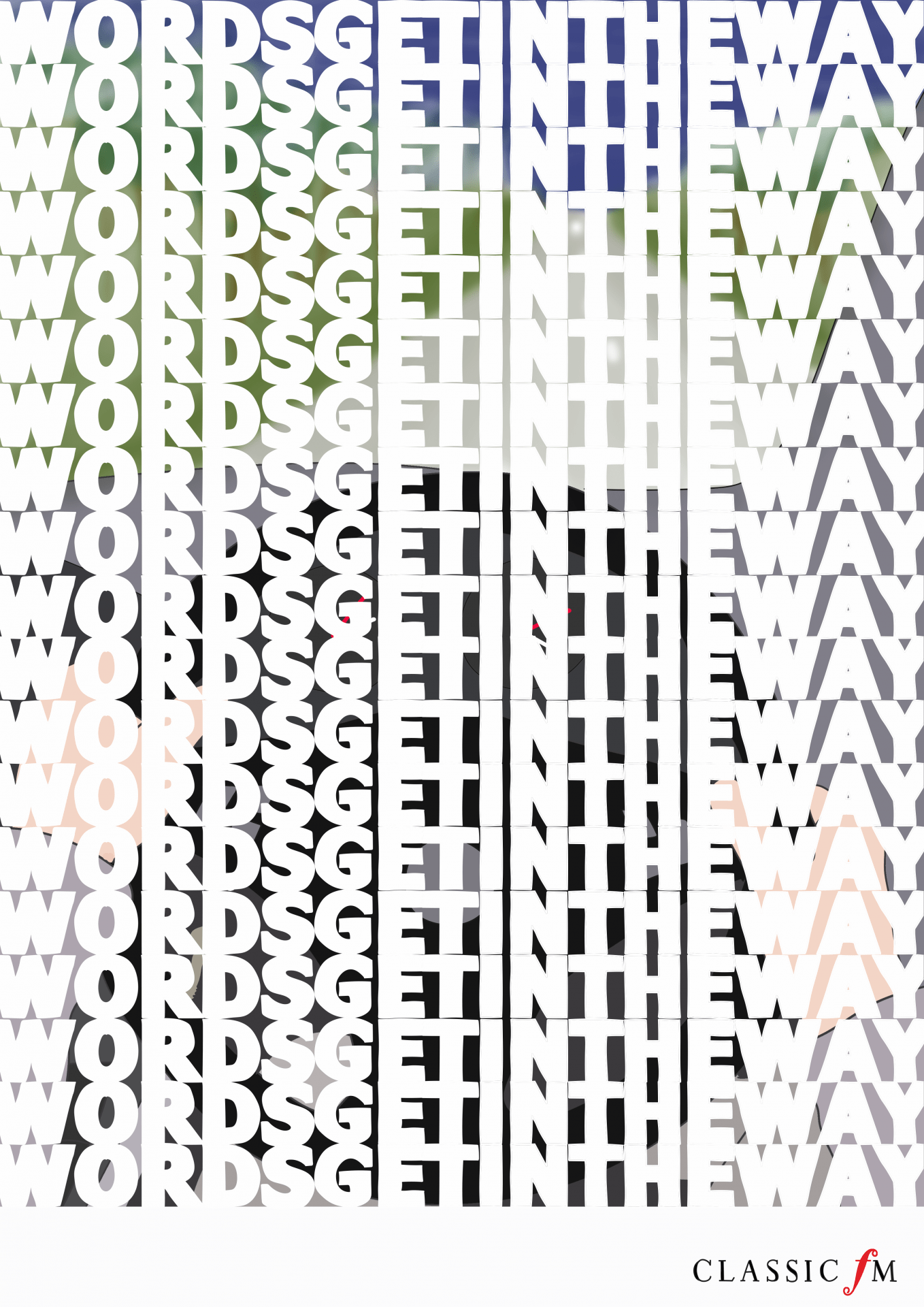 6 Sheet Illustration of the caption 'Words get in the way' covering a background image.