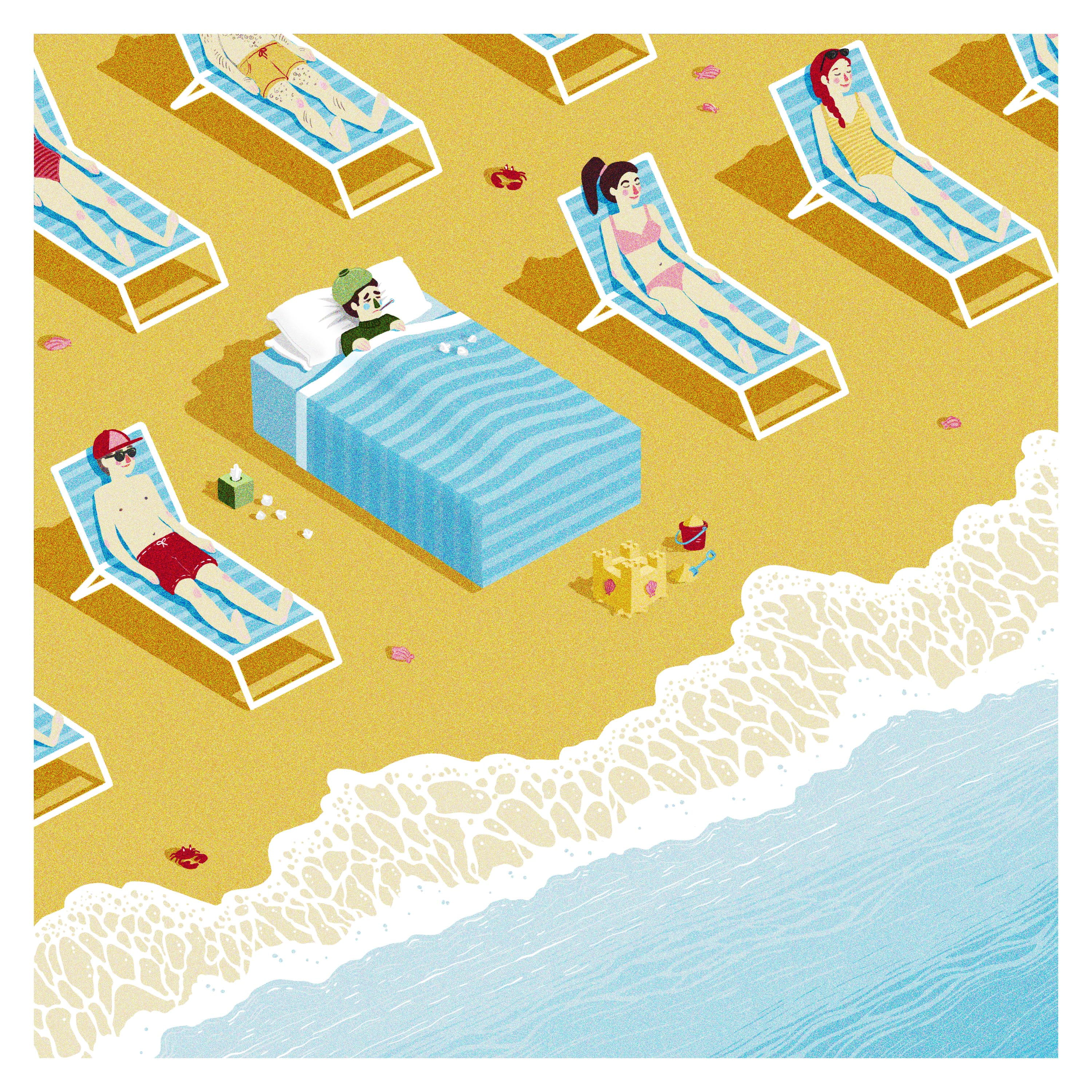 An illustration, people sunbathing at a beach by the sea, an ill person is shown tucked into their bed amongst a crowd of sunbeds.