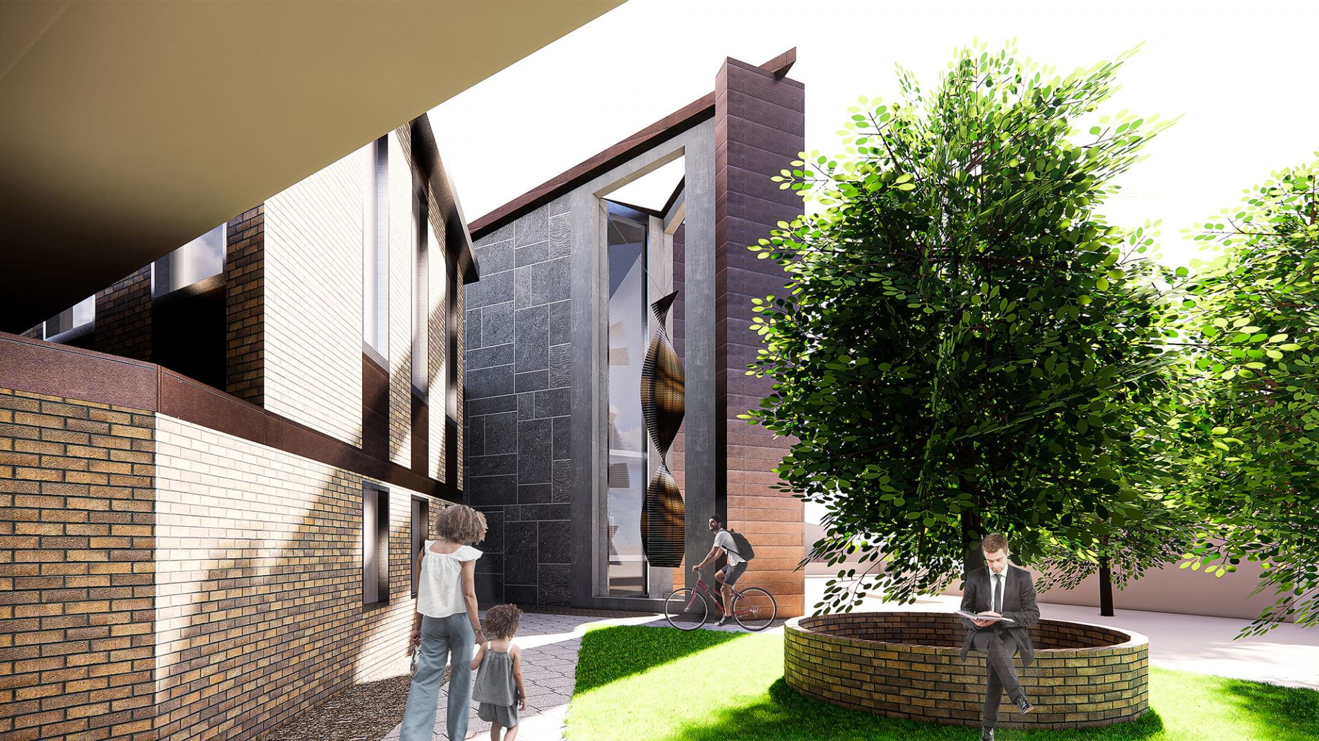 Virtually rendered collage showing a woman walking through the open outdoor space next to the building