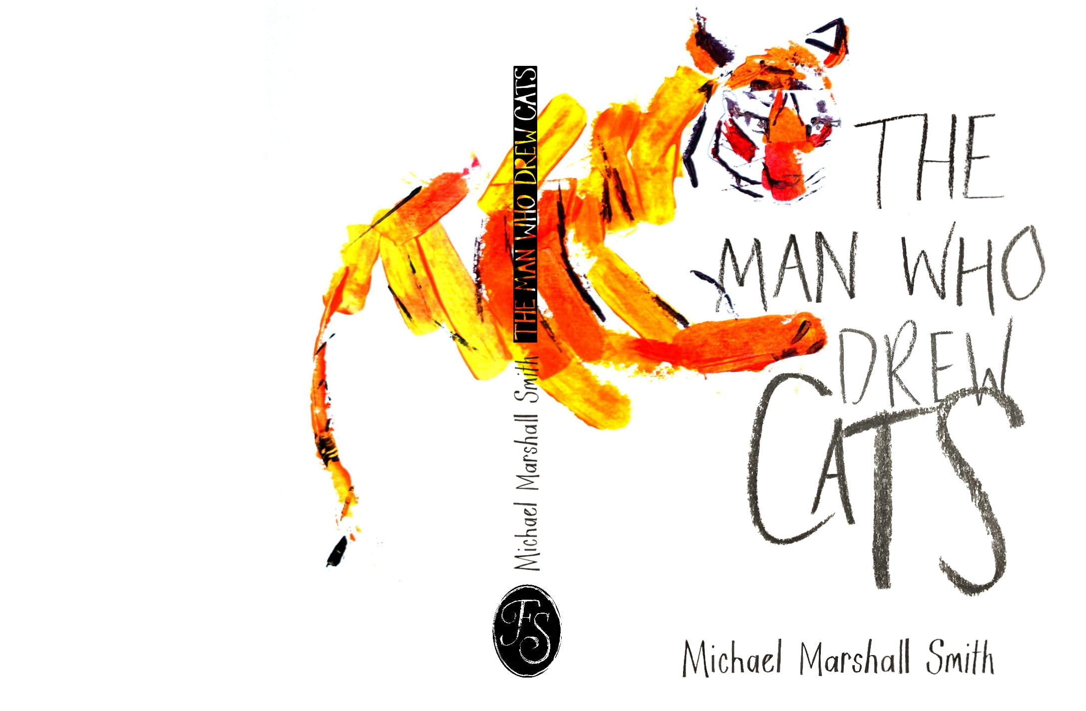 Illustration of a tiger wit the title 'The man who drew cats'.