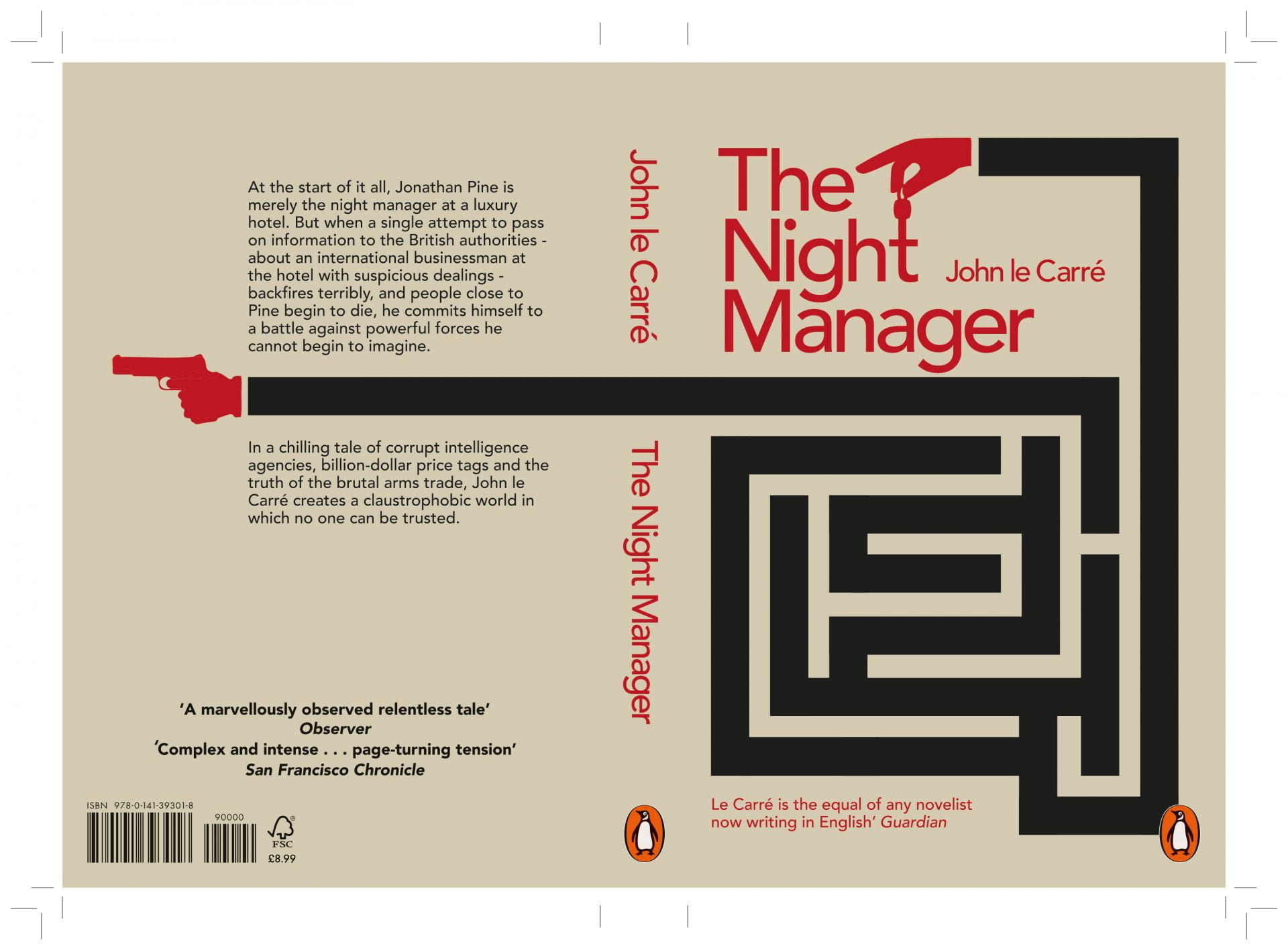 Book cover of 'The night Manager' depicting puzzles and one hand with keys the other holding a gun.
