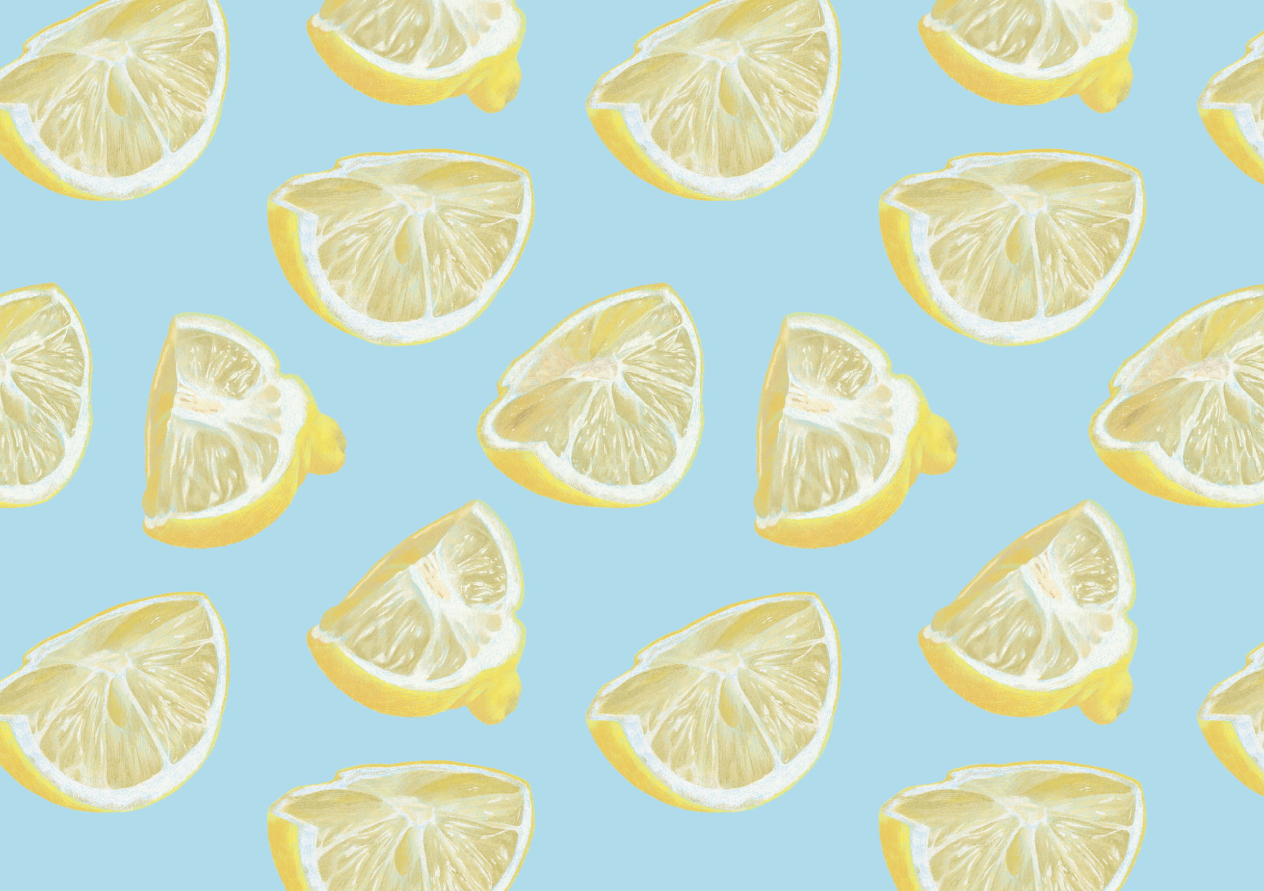 Illustration. A pattern of lemons, against a blue background.