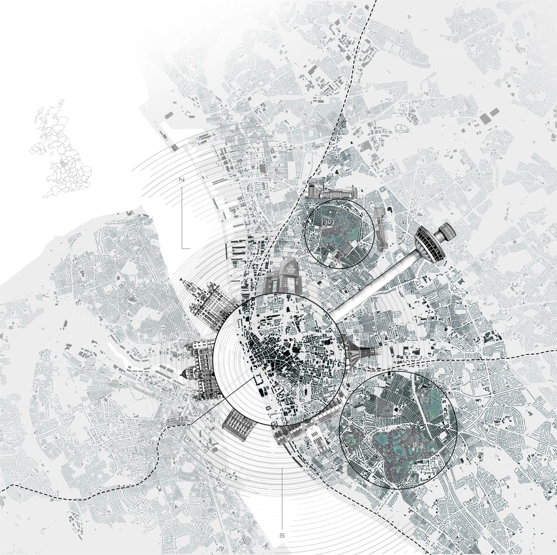 Graphic of map depicting green spaces and definitive architecture in Liverpool.