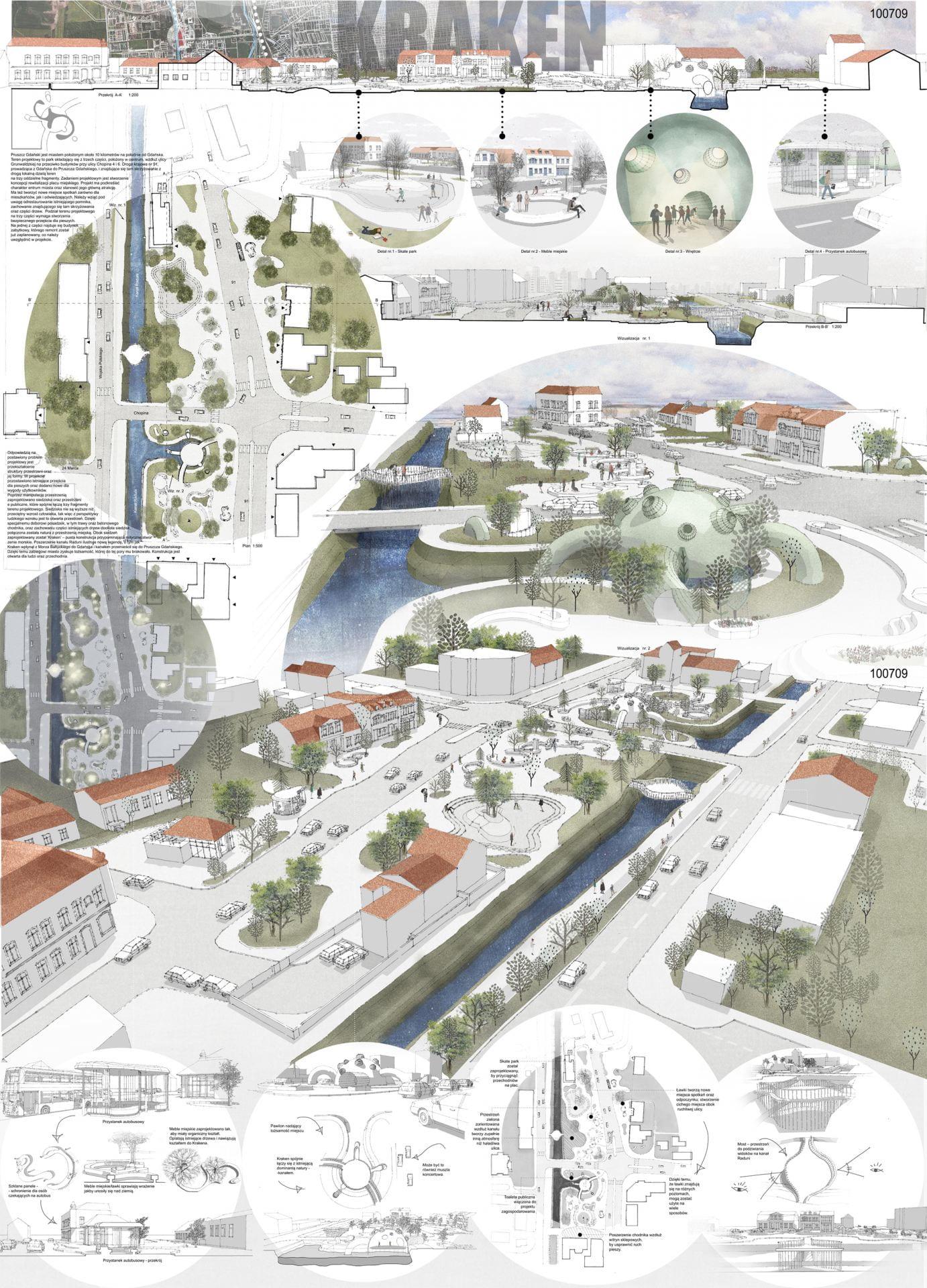 Graphic of award-winning Erasmus design studio redesigning a town square in Poland.