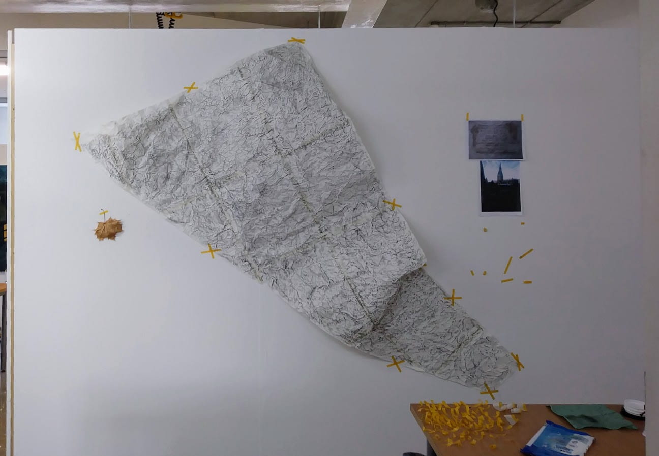 AAZ Project Space - Floor Drawing. From exhibition to studio hanging experiments.