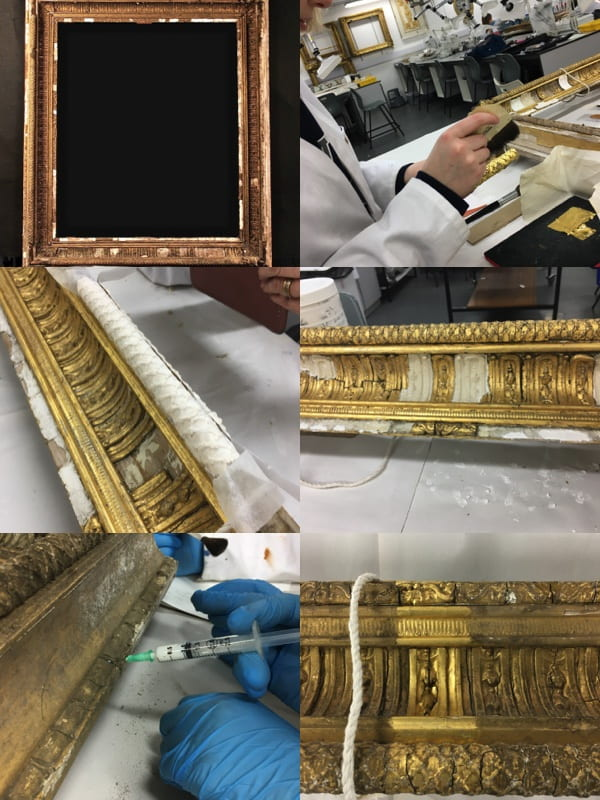 Six photographs of a gilded frames at various stages of preservation.