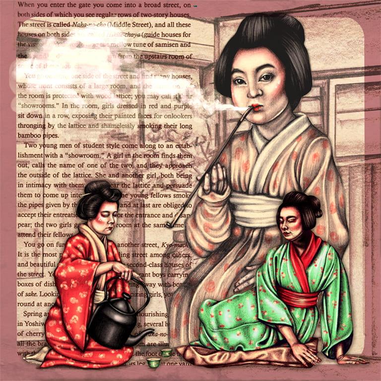Visual experimentation exploring Geishas, Maiko and opium smoking.