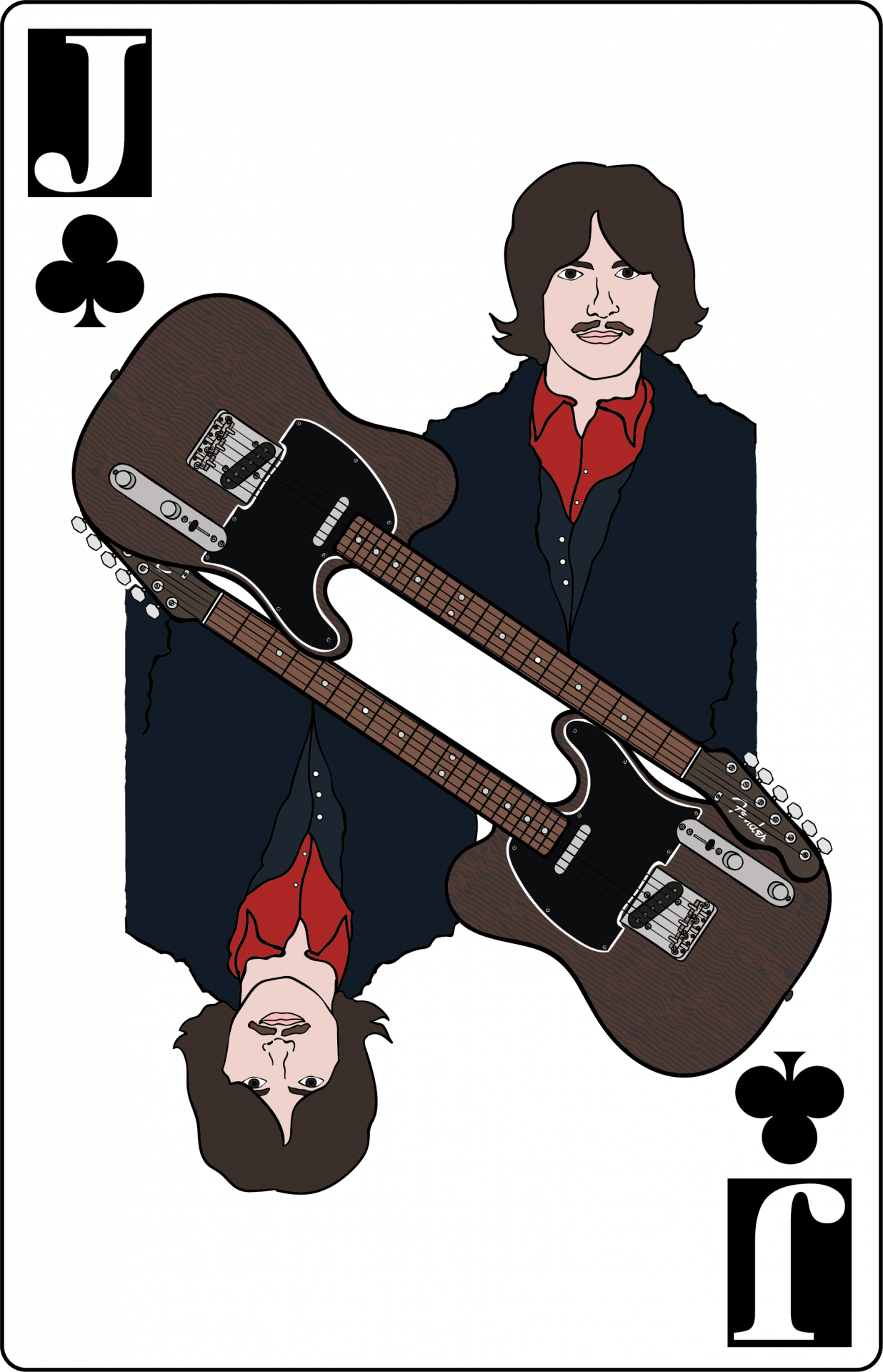 Illustration, George Harrison on a Jack of Clubs playing card, accompanied by a Fender Telecaster guitar