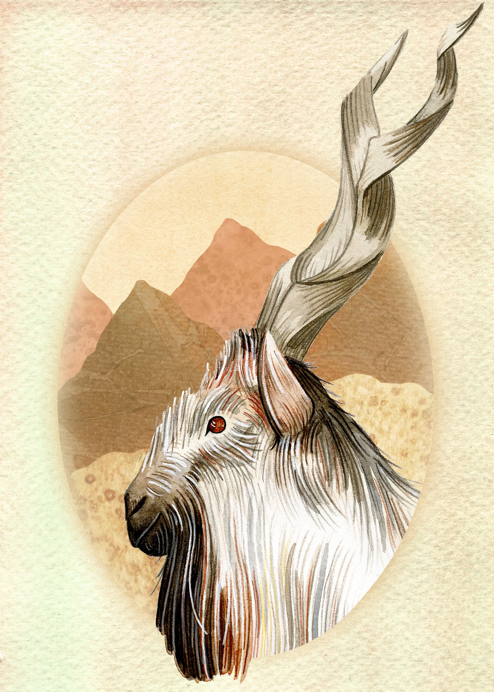 Painting of a Markhor Goat, mountainous terrain shown in the background