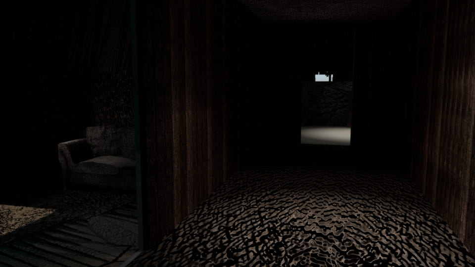 Dark image of a hallway of a Spooky House.