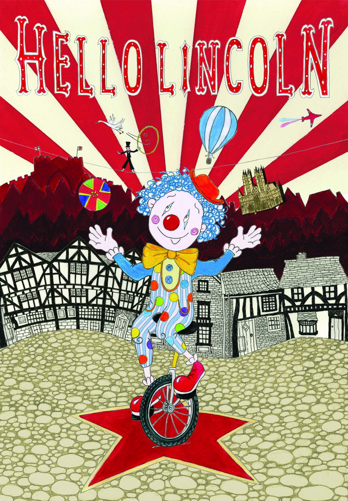 Illustration, a clown on a unicycle juggling, a red and white striped pattern with houses are in the background, text above reads: