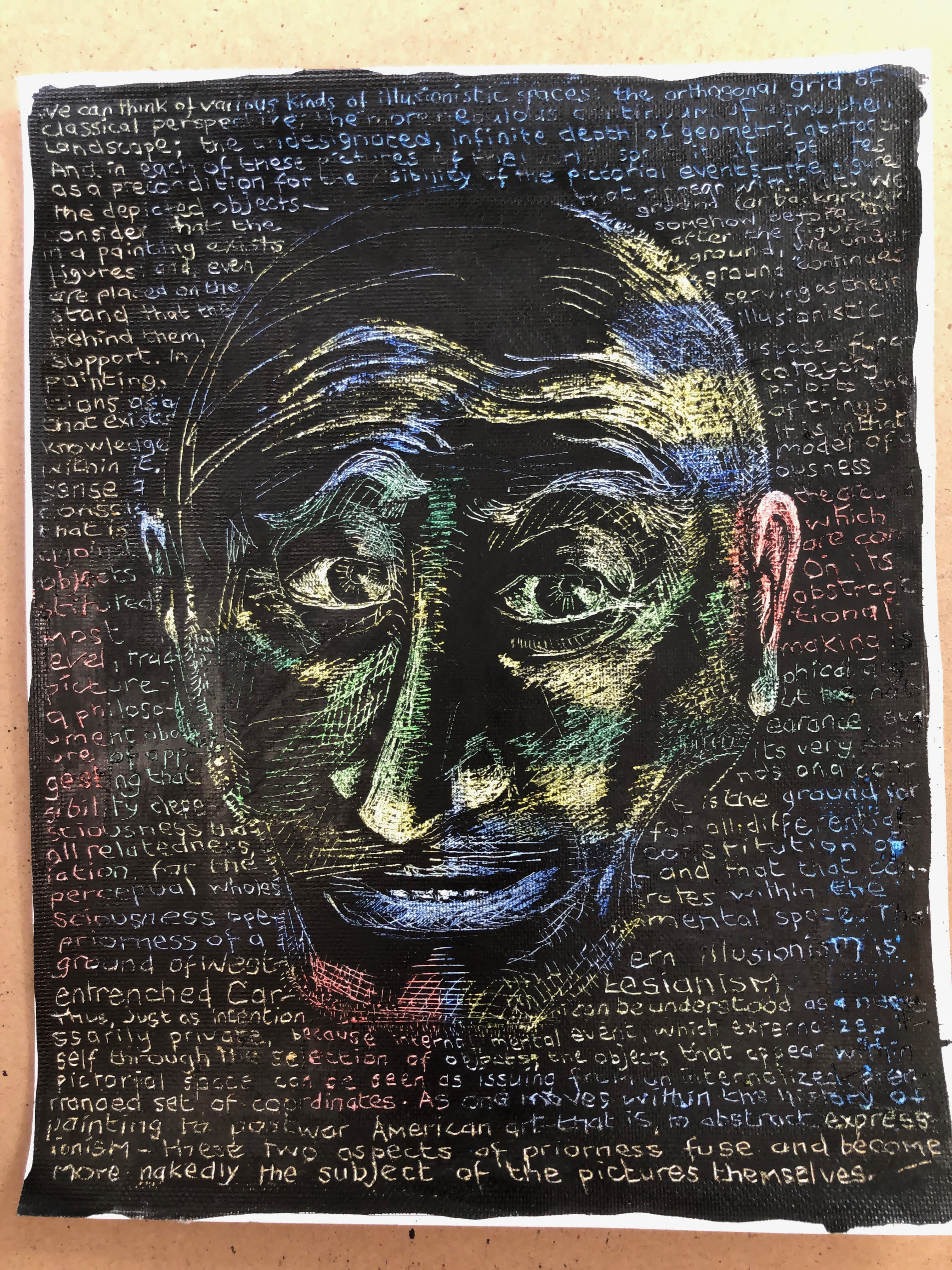 A blue, yellow and green face on a black background surrounded with words called The Subject of the Sign.