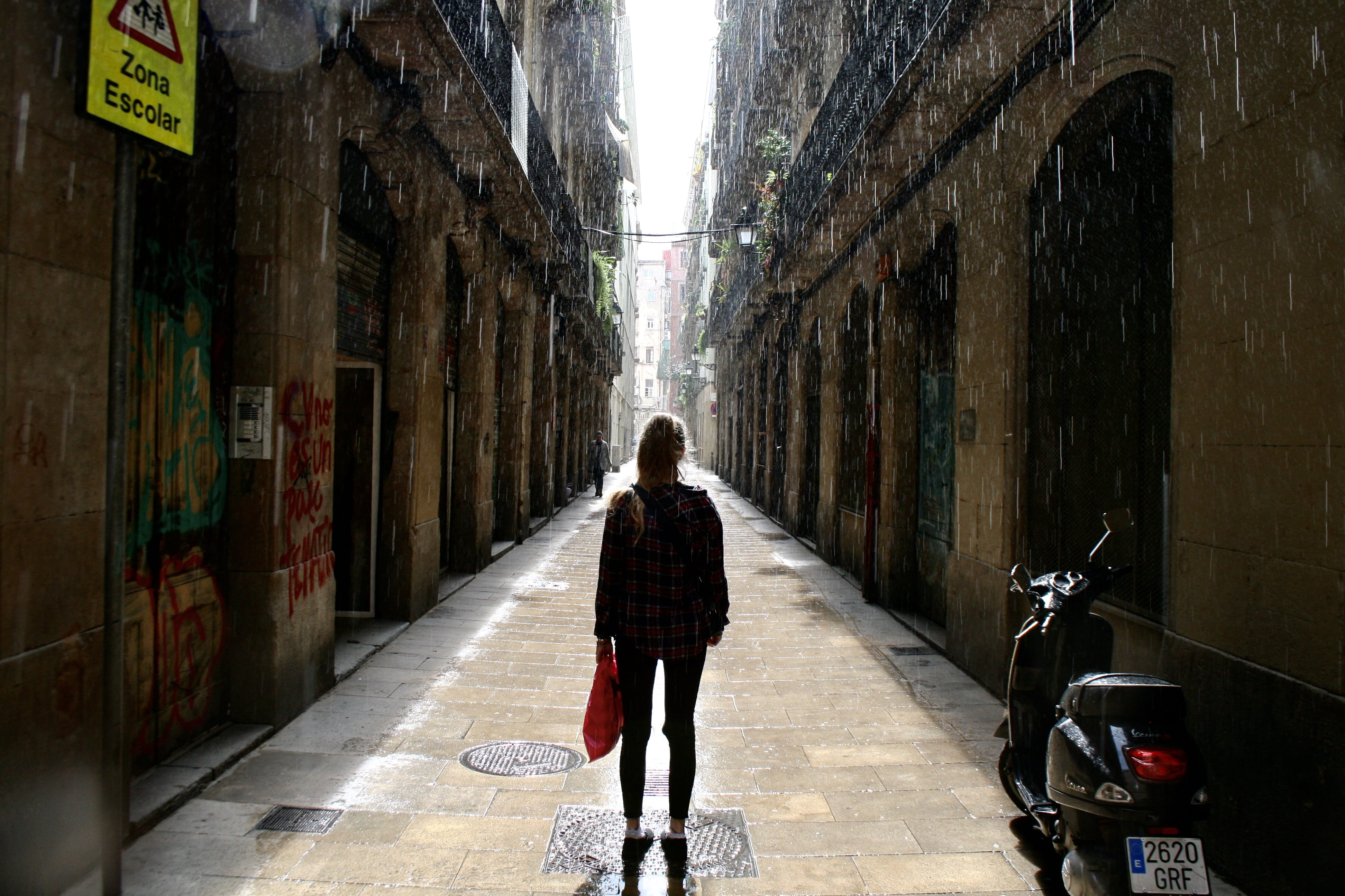 Image of a Barcelona backstreet during a summer storm.