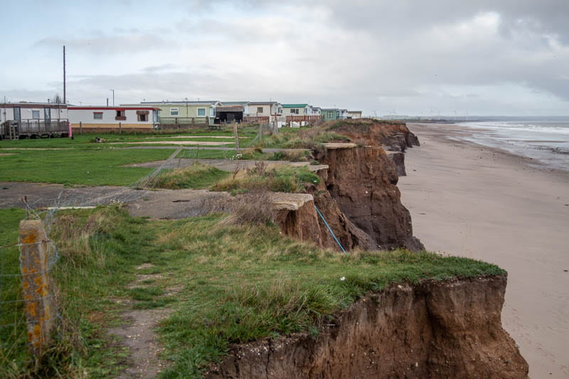 Caravan park threatened by coastal erosion, Skipsea.
