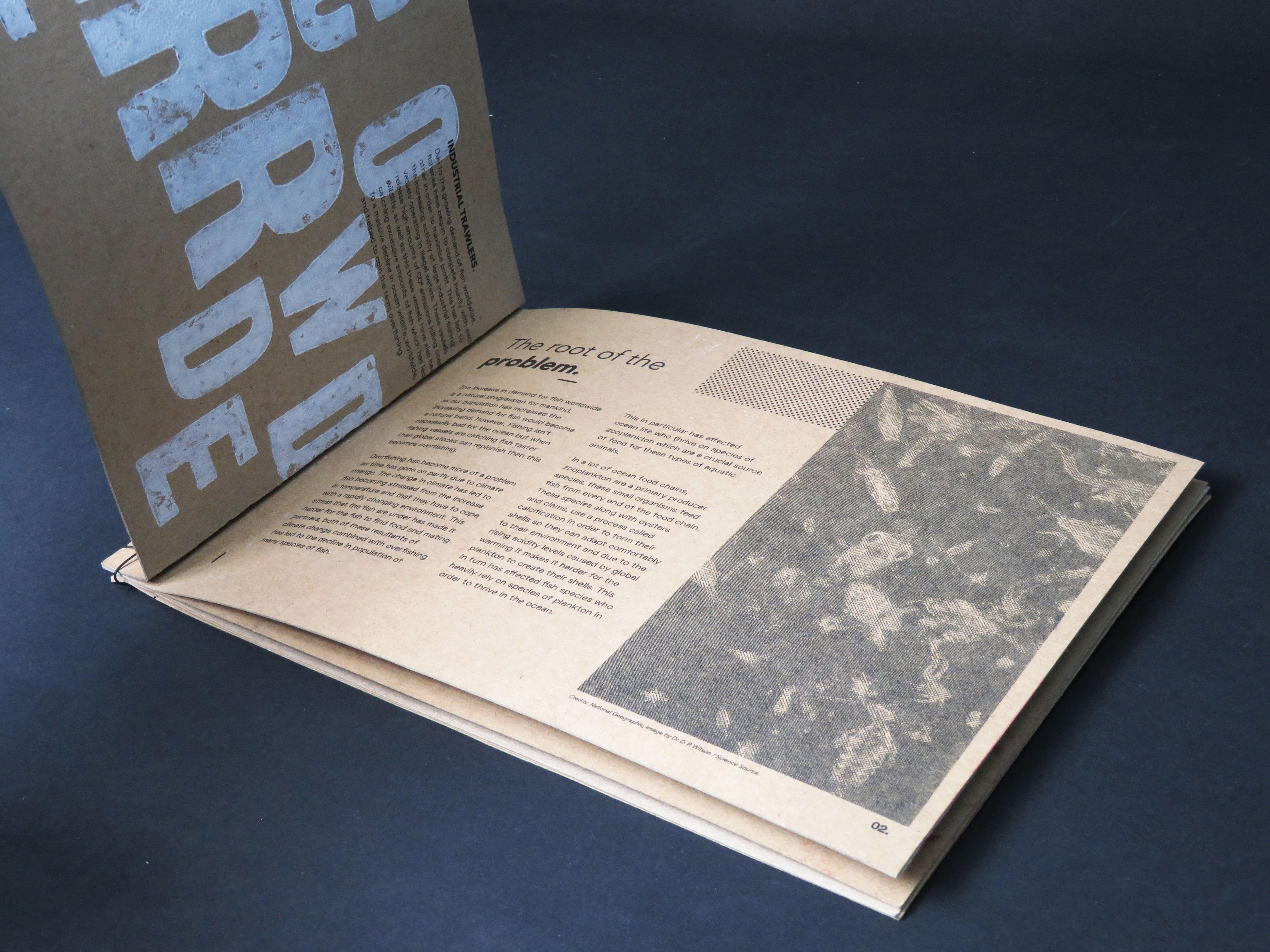 Open book showing the layout of text with white lino printed words