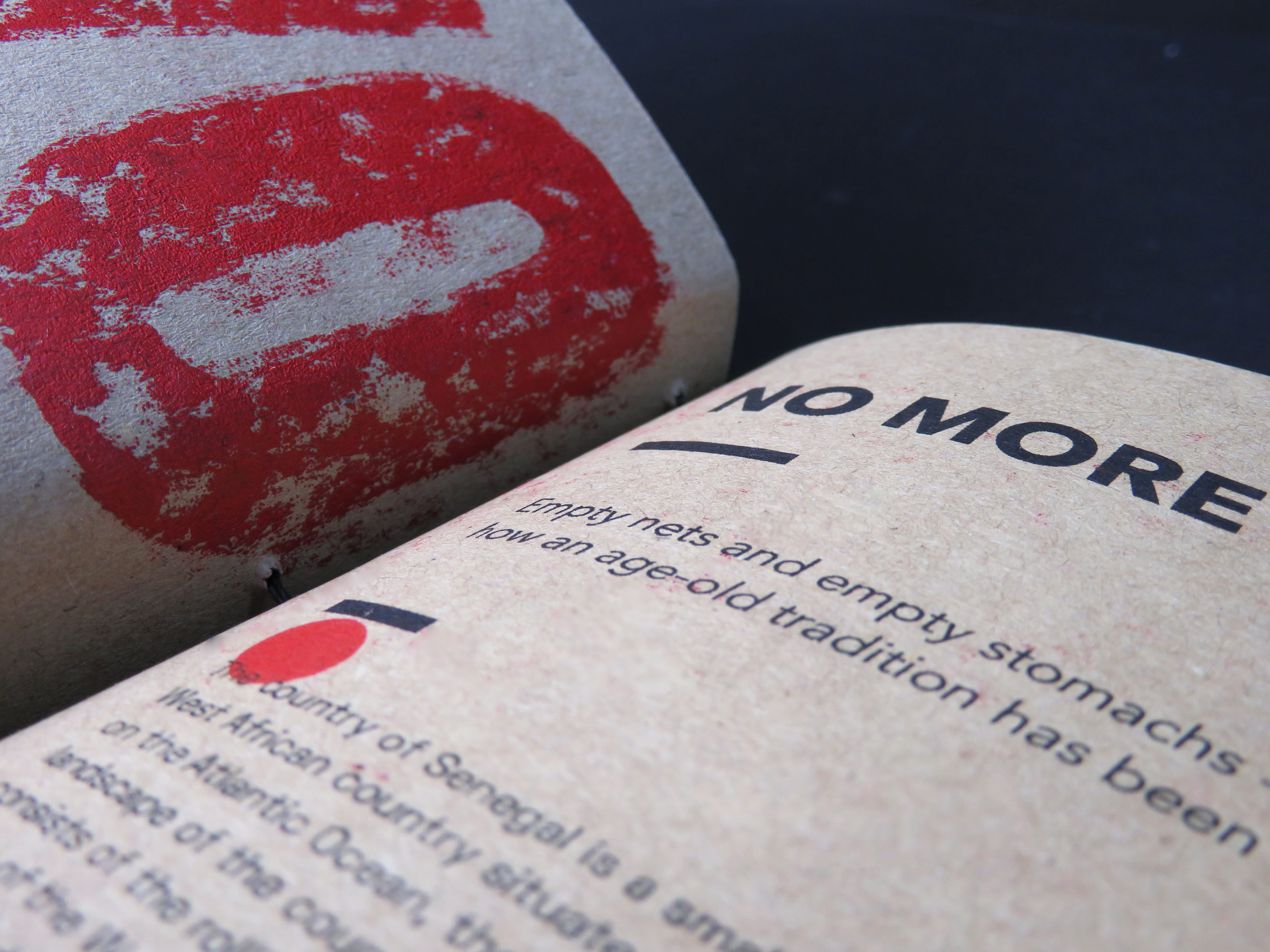 Close up of a book page showing the texture and type face