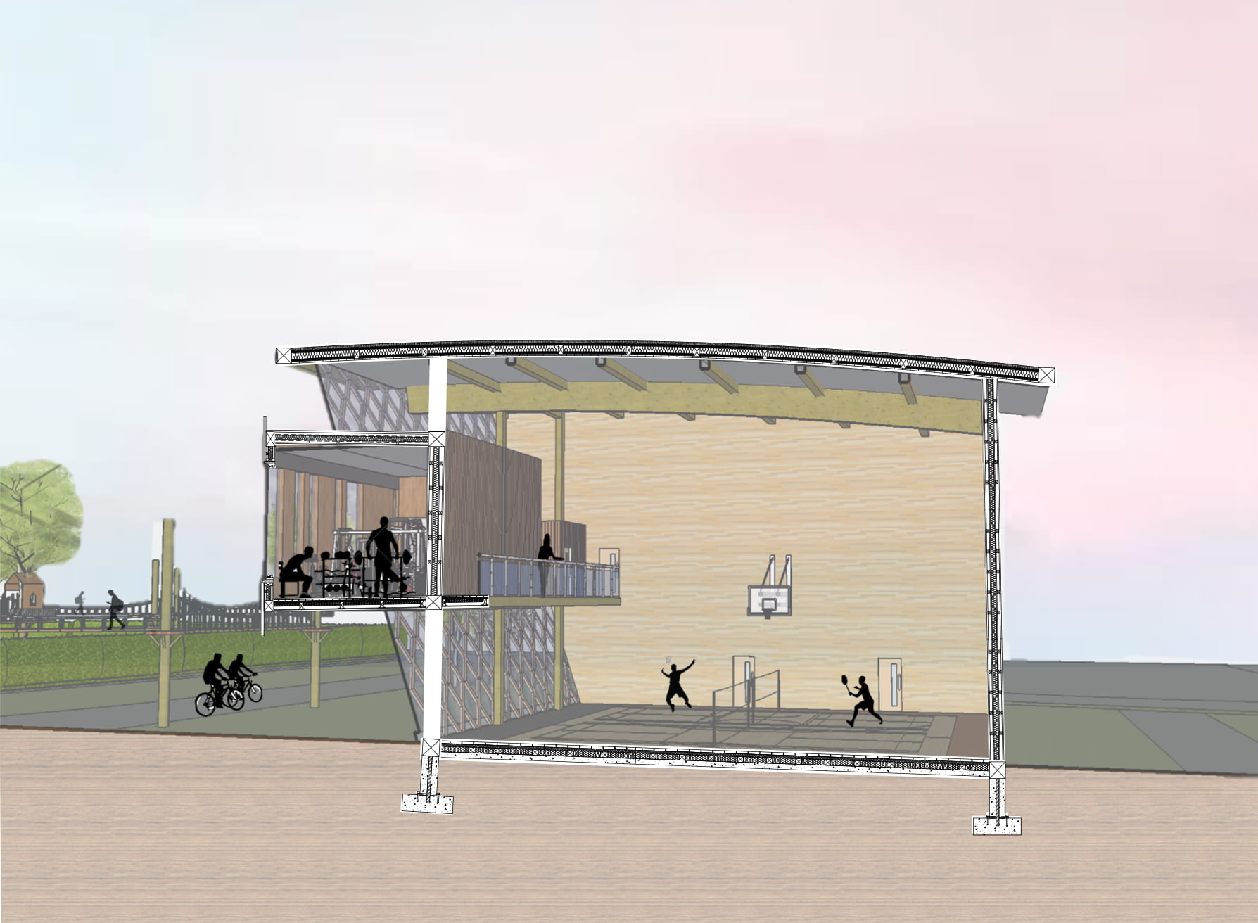 Integrative drawing showing how the building will be spaced