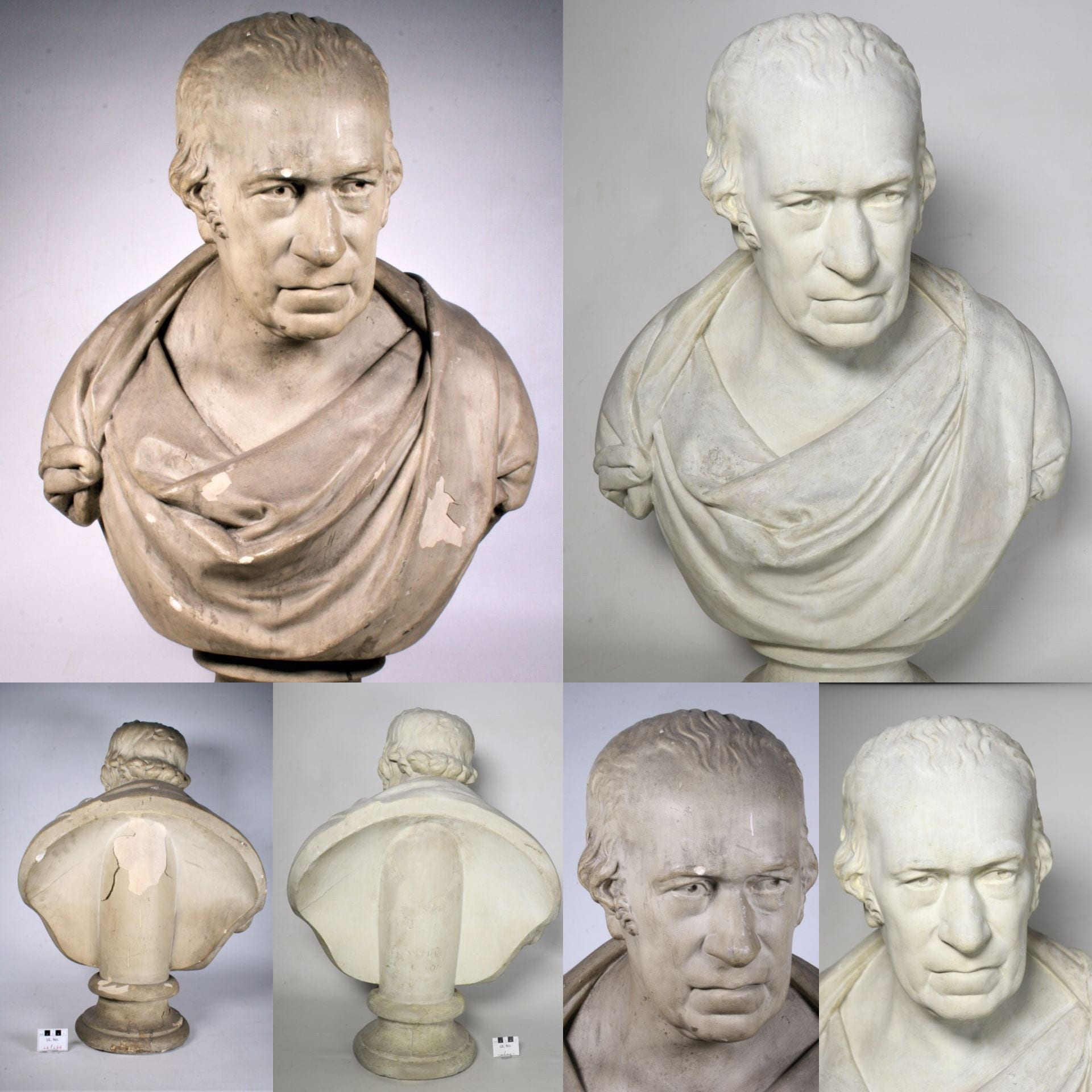 A chipped and dirty clay bust of inventor James Watt, and next to it, the same bust, but clean and with the chips filled-in.