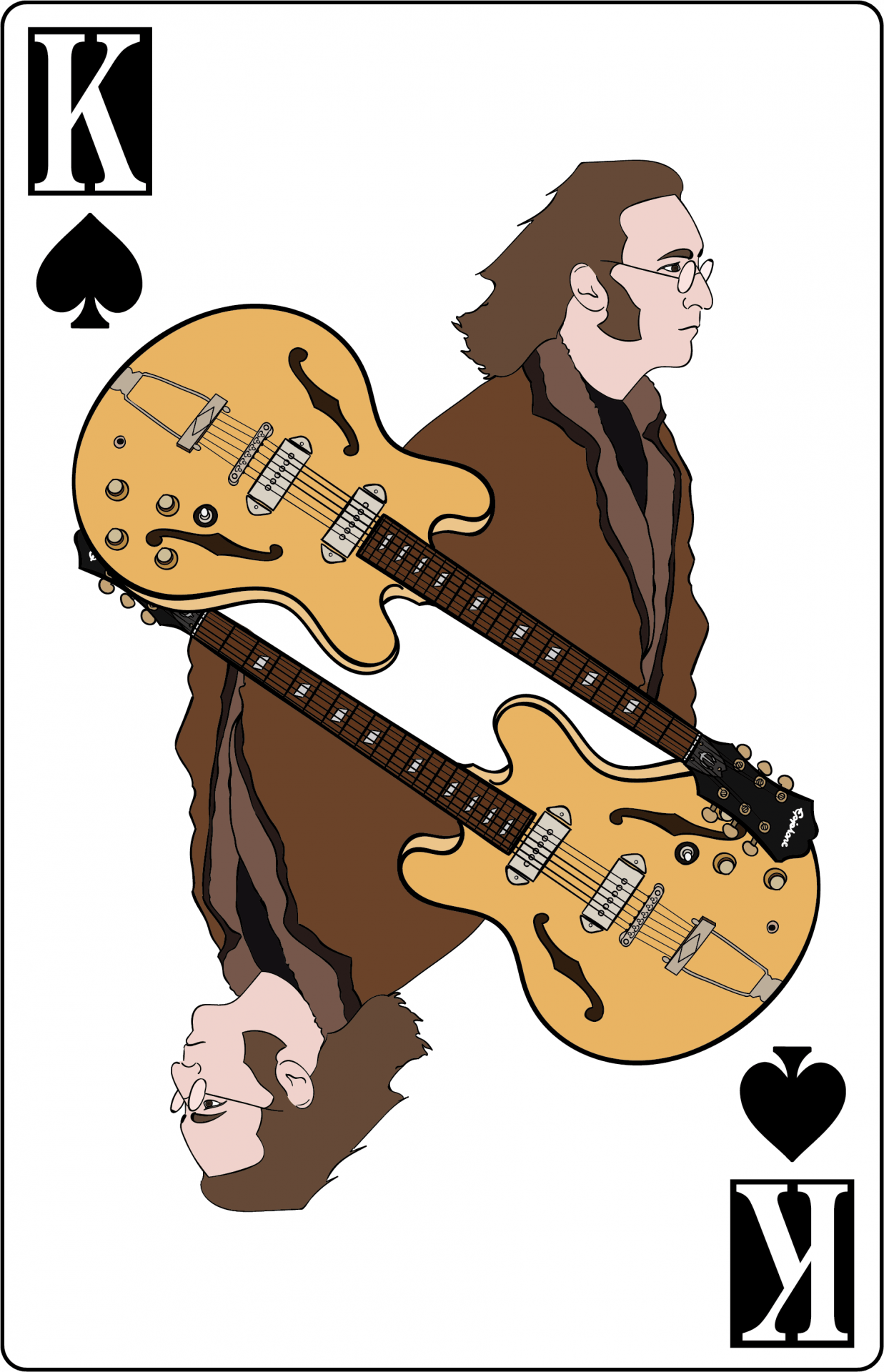 Illustration, John Lennon on a King of Spades playing card, accompanied by an Epiphone Casino guitar