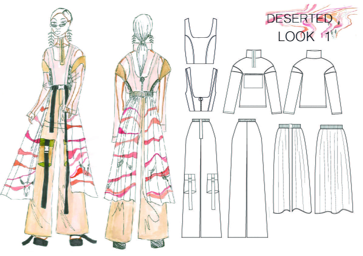 Pencil Illustration of deep pink and salmon-coloured dresses, beside the dress patterns.