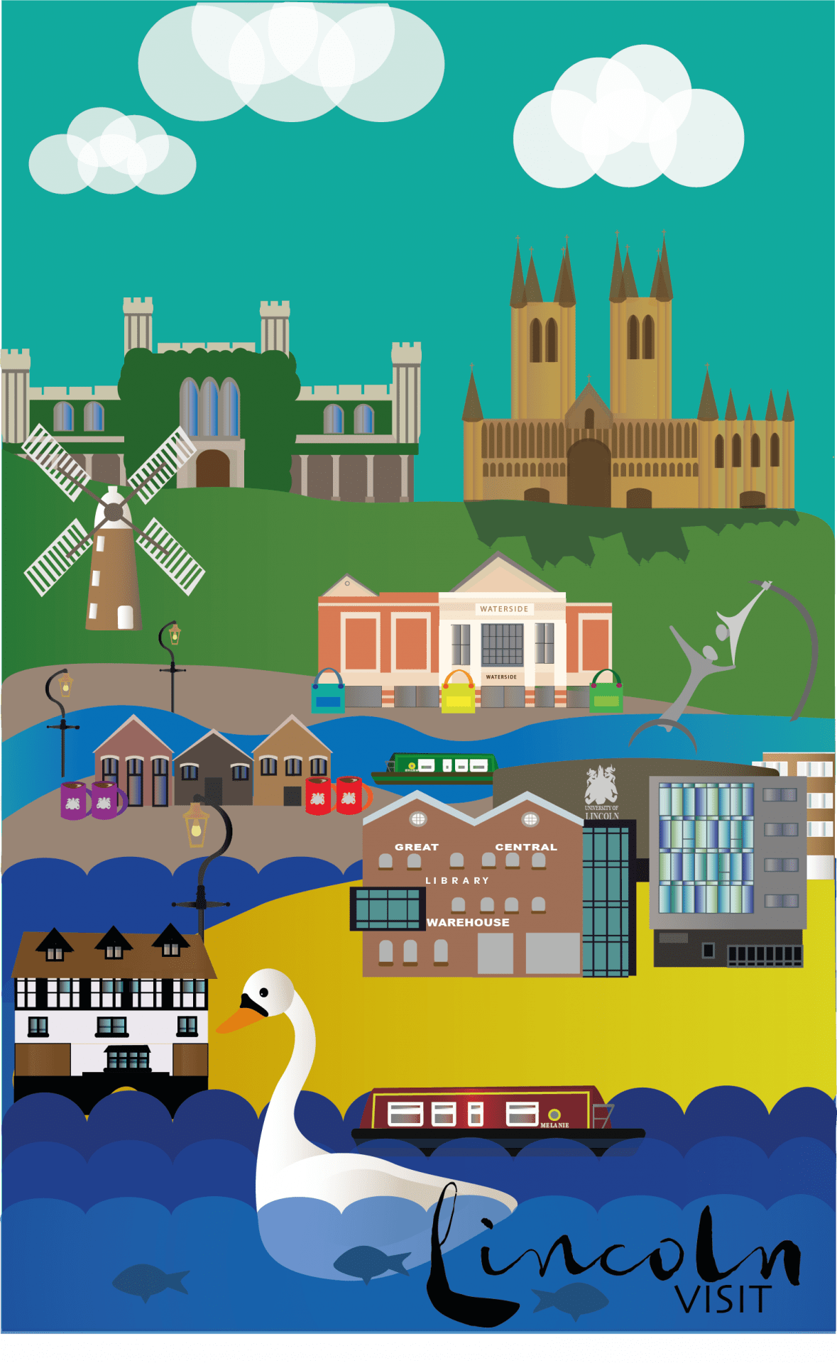 Illustration. A poster composed of minimalist illustrations of Lincoln landmarks, the bottoms reads:
