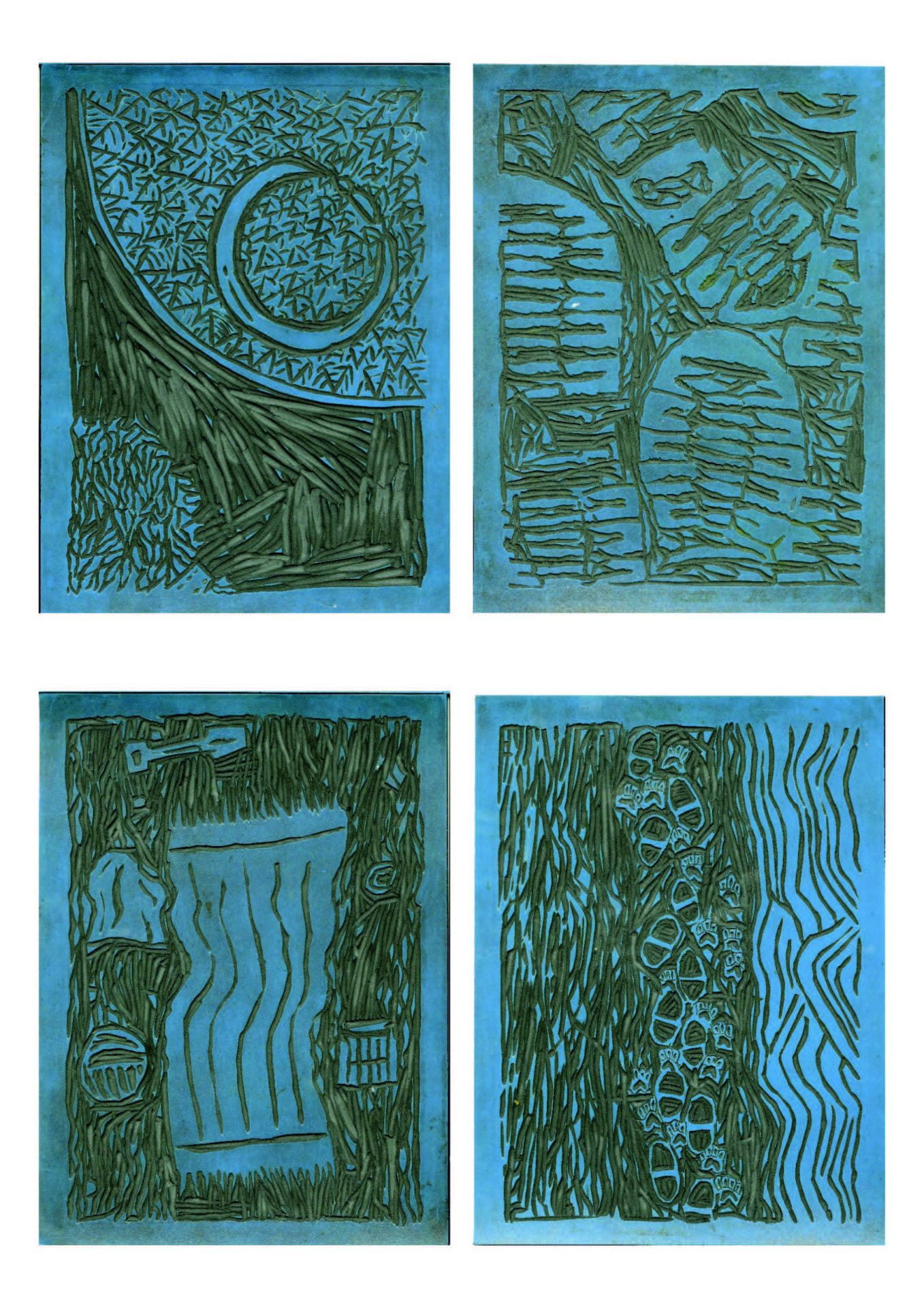Examples of lino prints.