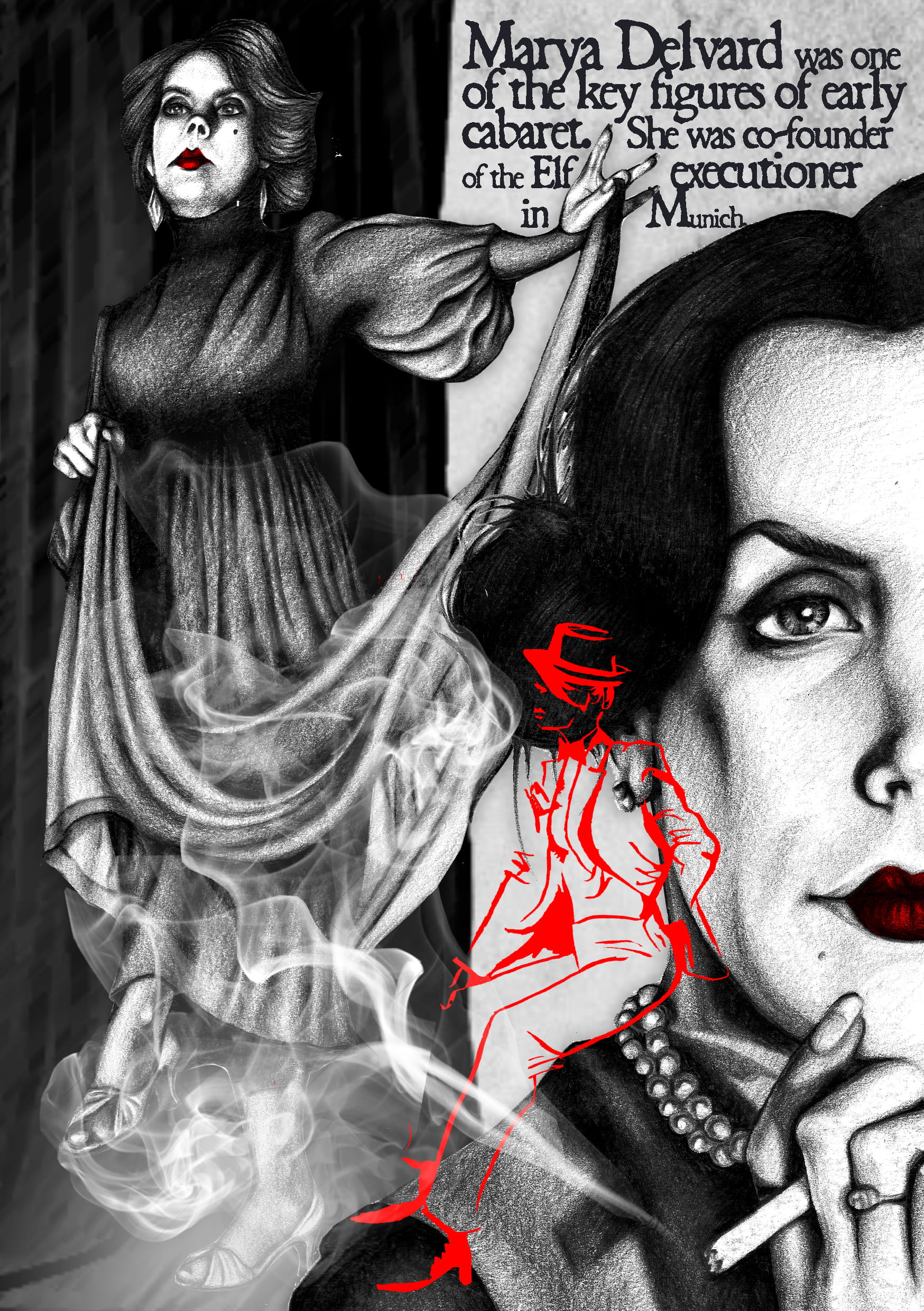 An illustration depicting cabaret star 'Marya Delvard', a close up of half of her face in the foreground, with a full body illustration by the side of it.
