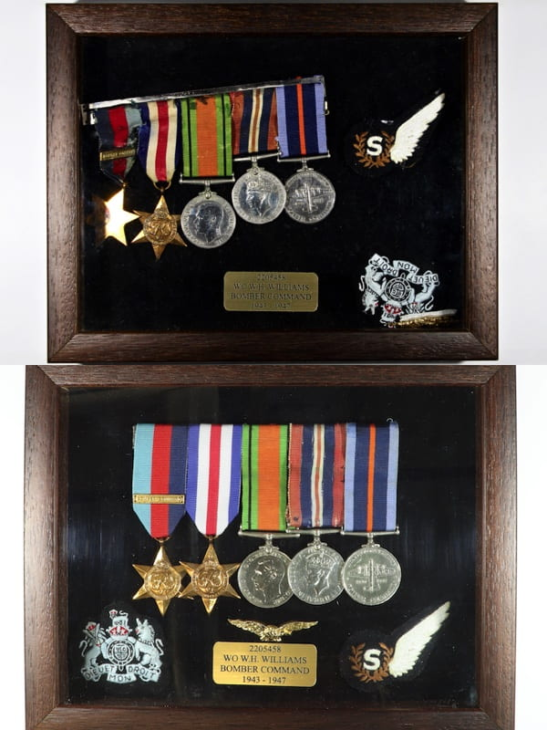 A collection of World War 2 medals.