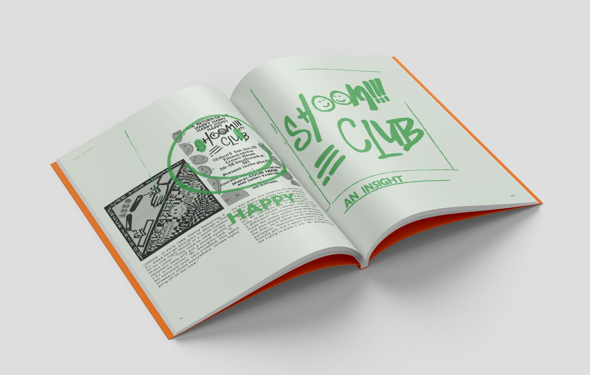 Image of a spread within the magazine, focusing on Shoom Club.
