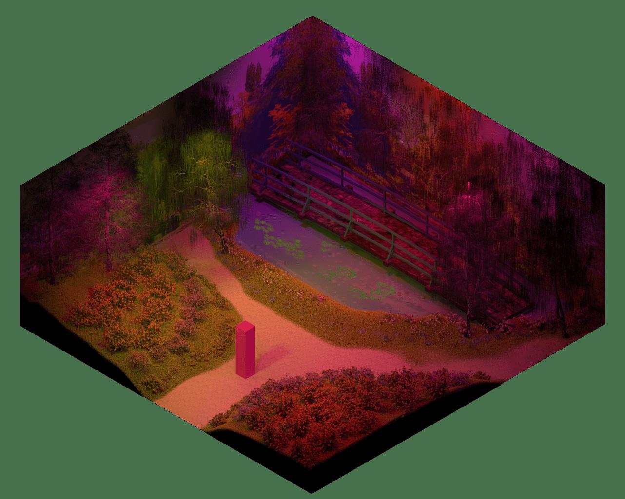 3D model of Monet's Garden at night.