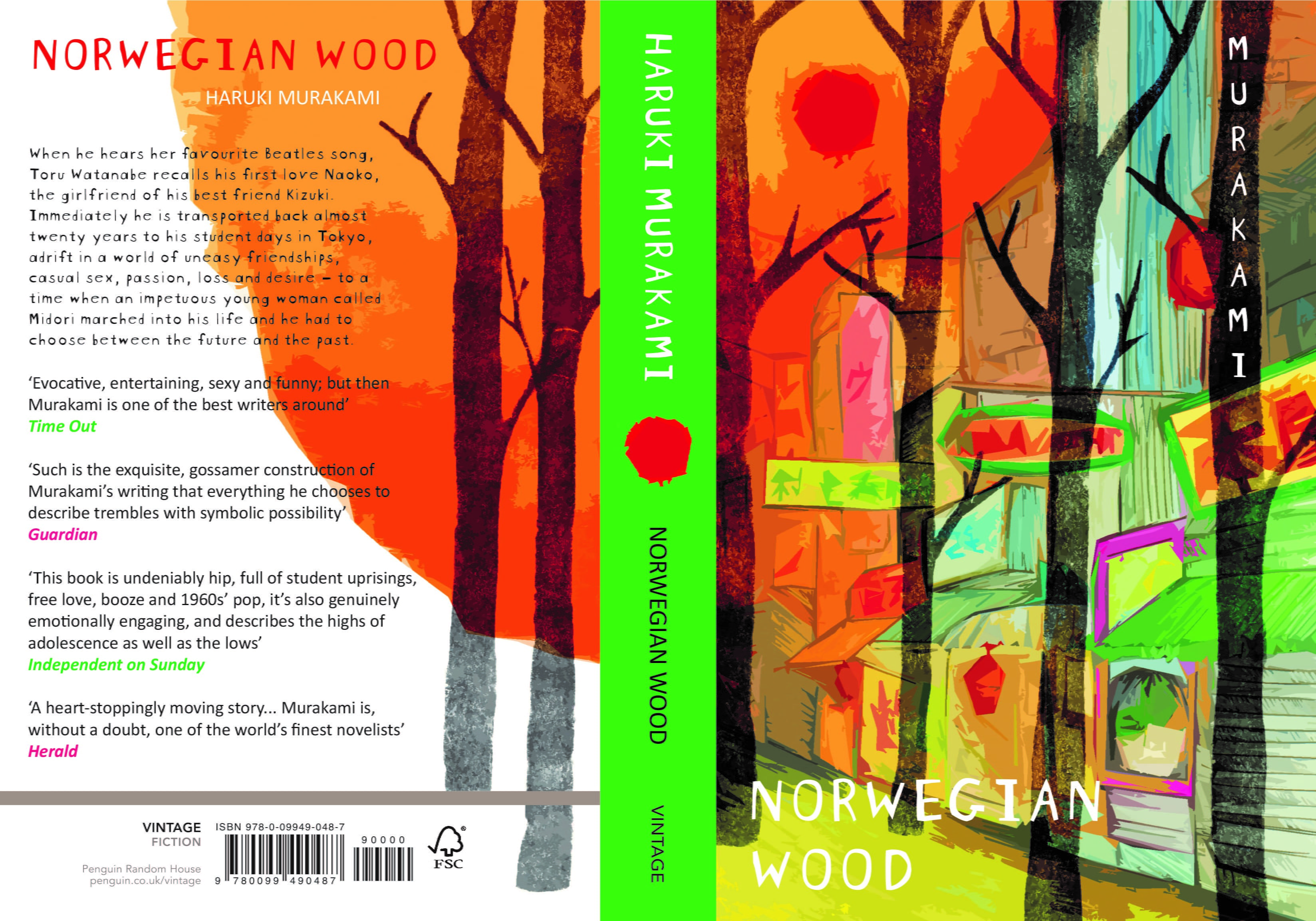 Illustrated Book Cover with a green spine. Abstract autumnal trees against a row of shops.