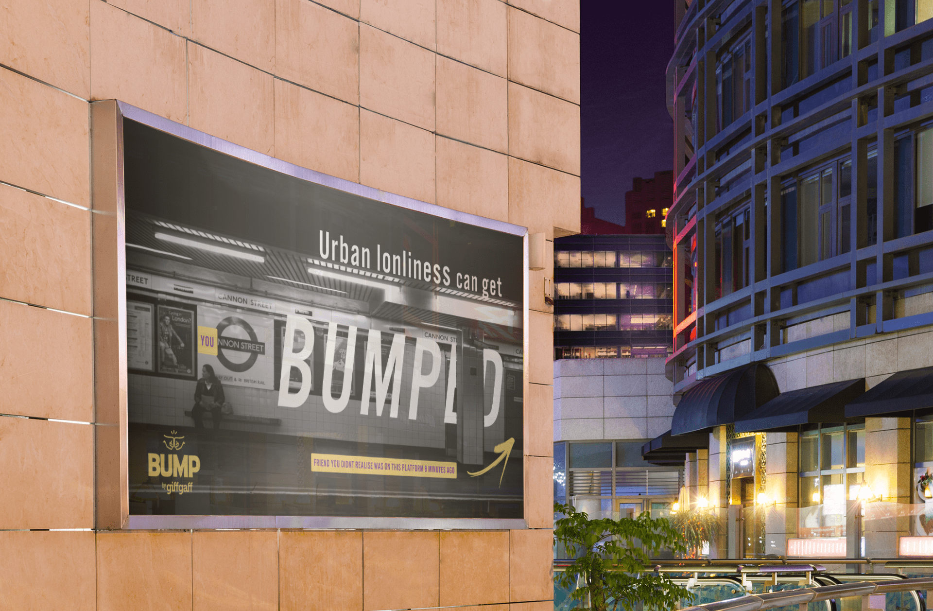 Digitally rendered advert of 'bump' campaign on a poster in a city