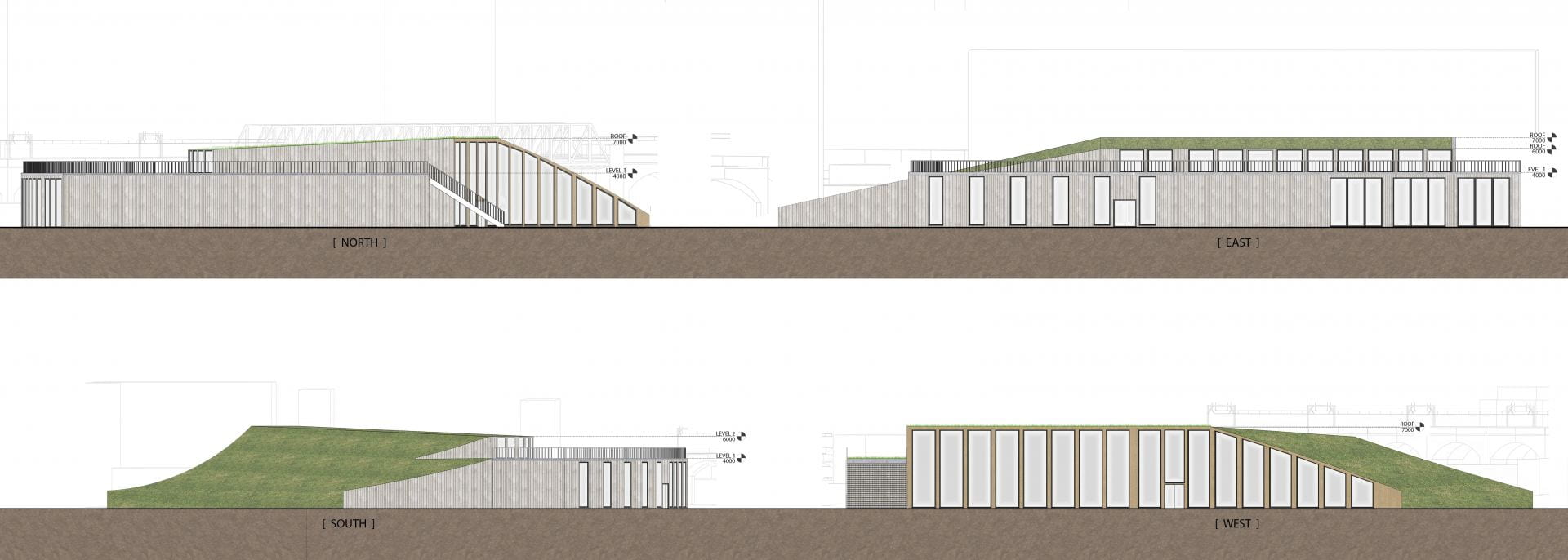 A diagram depicting Exterior Elevations Of Proposed Transition Hub Exploring The Use Of Raw Materials.