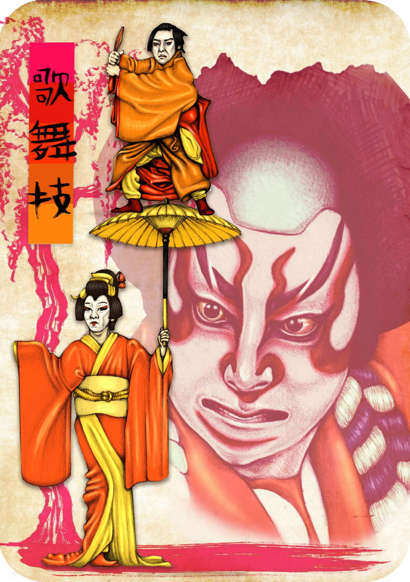 Visual experimentation exploring Kabuki Theatre and Geishas.