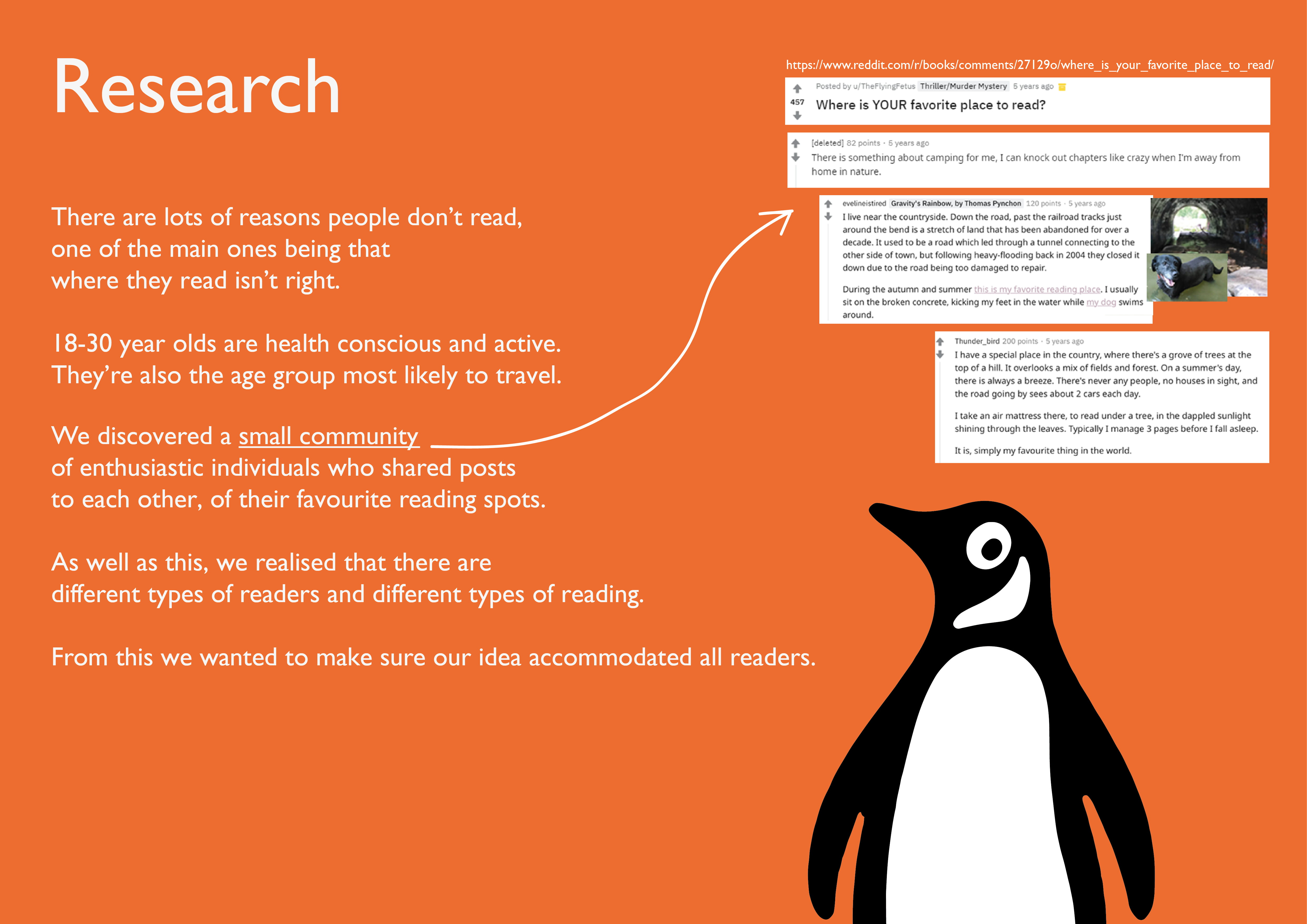 Research poster with concept of idea on orange background with Penguin logo.