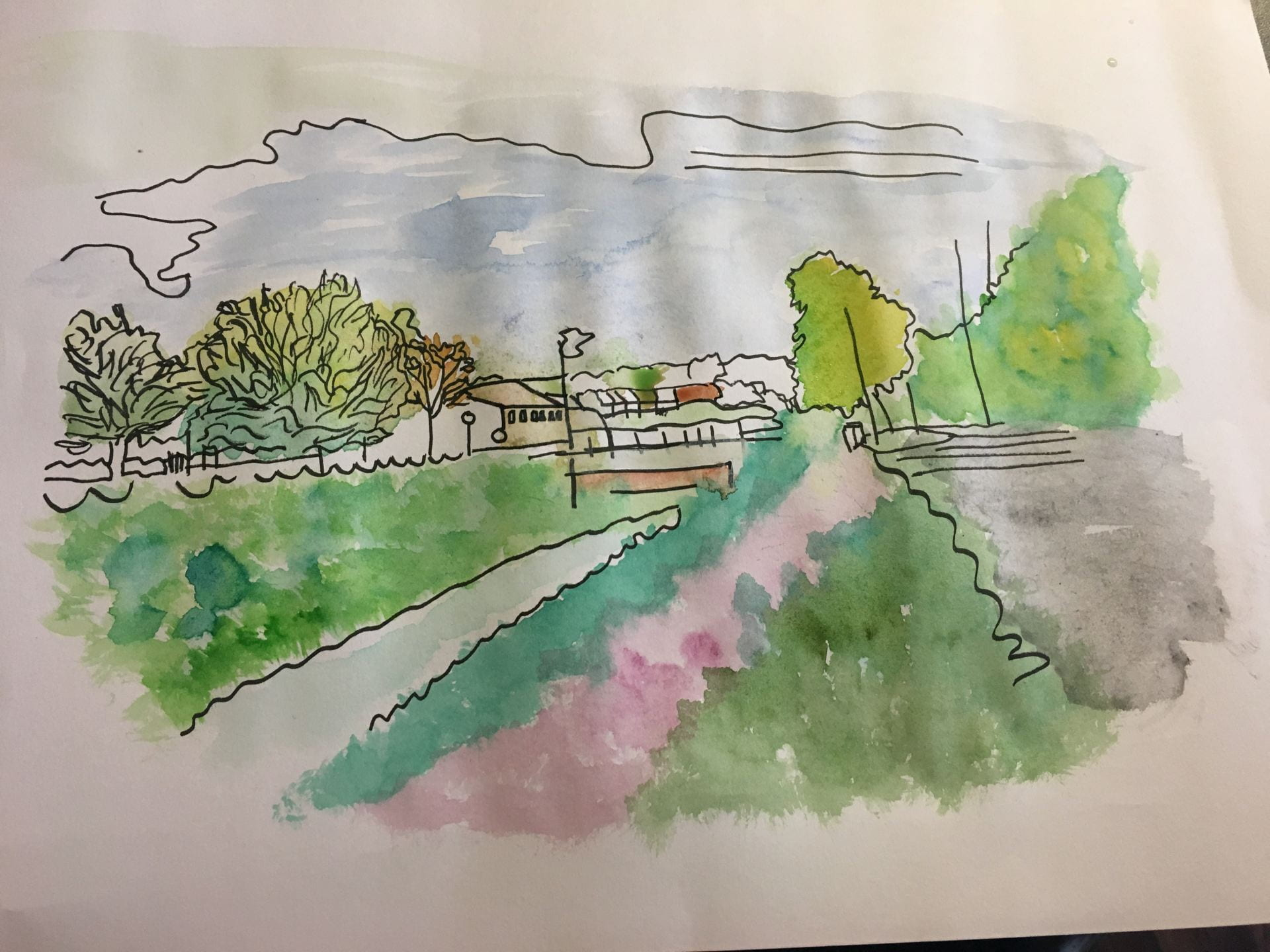 Painting of algae filled river in Lincoln by Jasmine Summers.