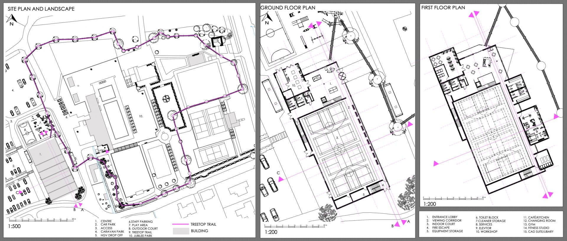 Site plan showing where the building will sit within its context