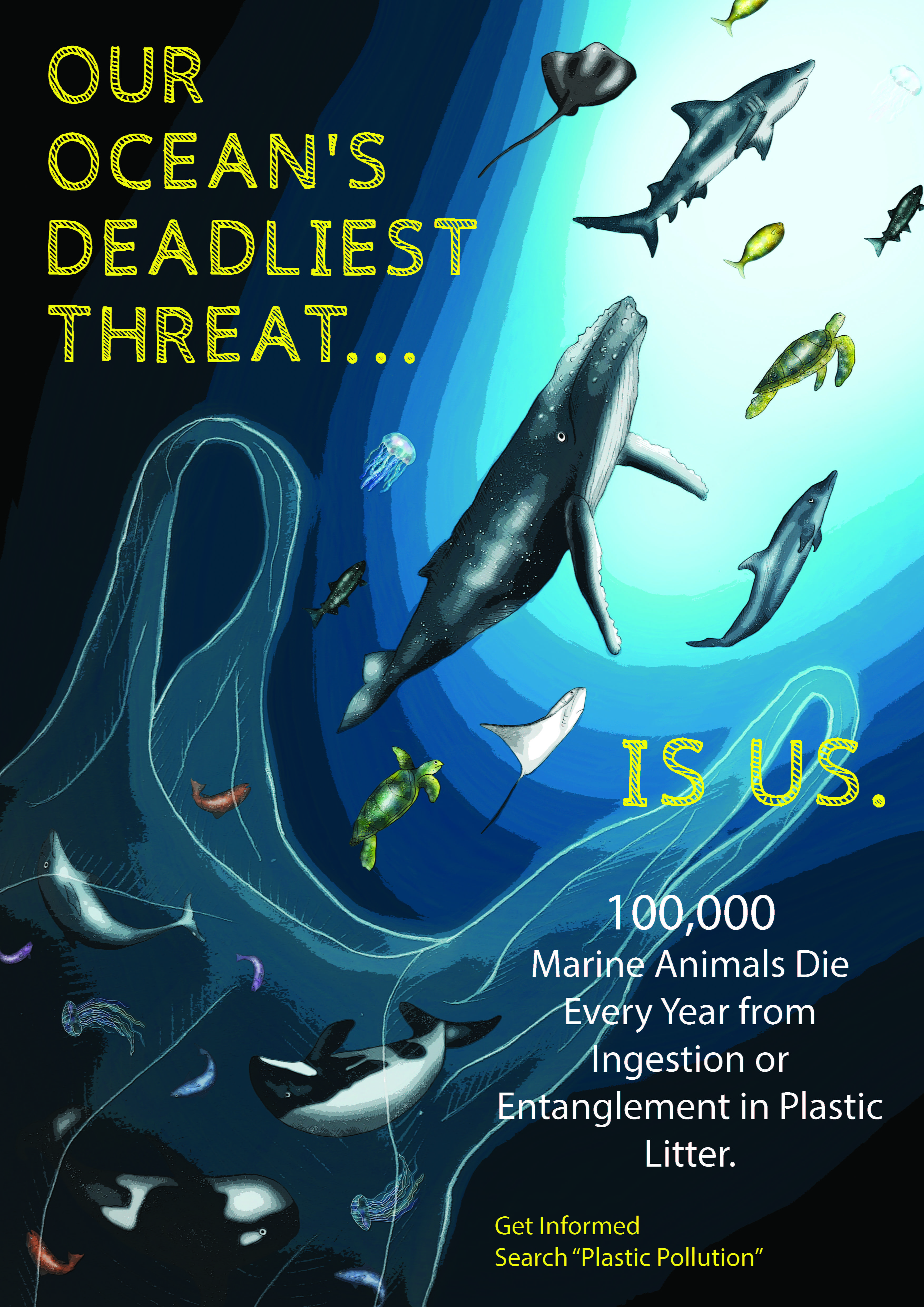 Illustrated poster of sea-life swimming away from a giant plastic bag. Title reads: 'The ocean's deadliest threat, is us.'