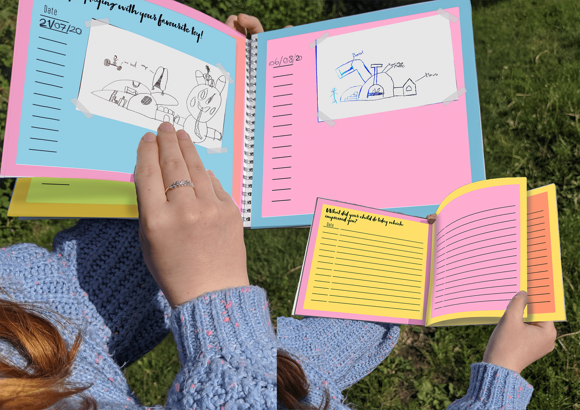 Someone holding a brightly coloured book - to preserve memories and ideas, there are several journal pages for both parents and children to write on with a different question or prompt on each page.